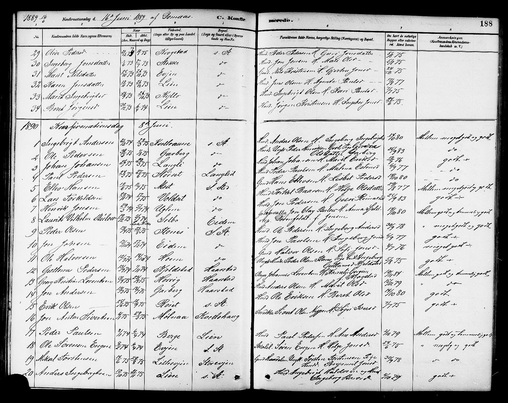 SAT, Ministerialprotokoller, klokkerbøker og fødselsregistre - Sør-Trøndelag, 695/L1157: Klokkerbok nr. 695C08, 1889-1913, s. 188