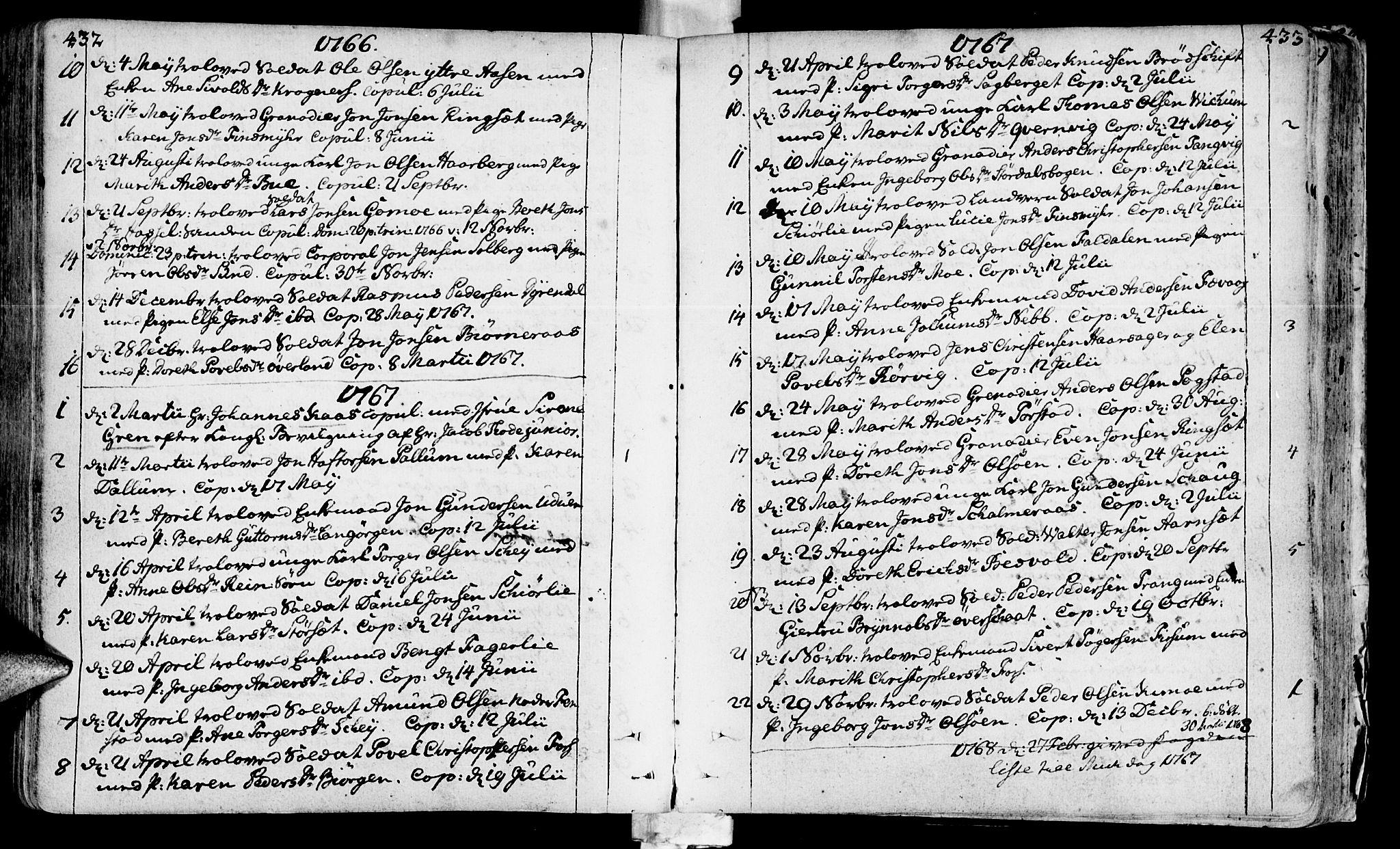 SAT, Ministerialprotokoller, klokkerbøker og fødselsregistre - Sør-Trøndelag, 646/L0605: Ministerialbok nr. 646A03, 1751-1790, s. 432-433