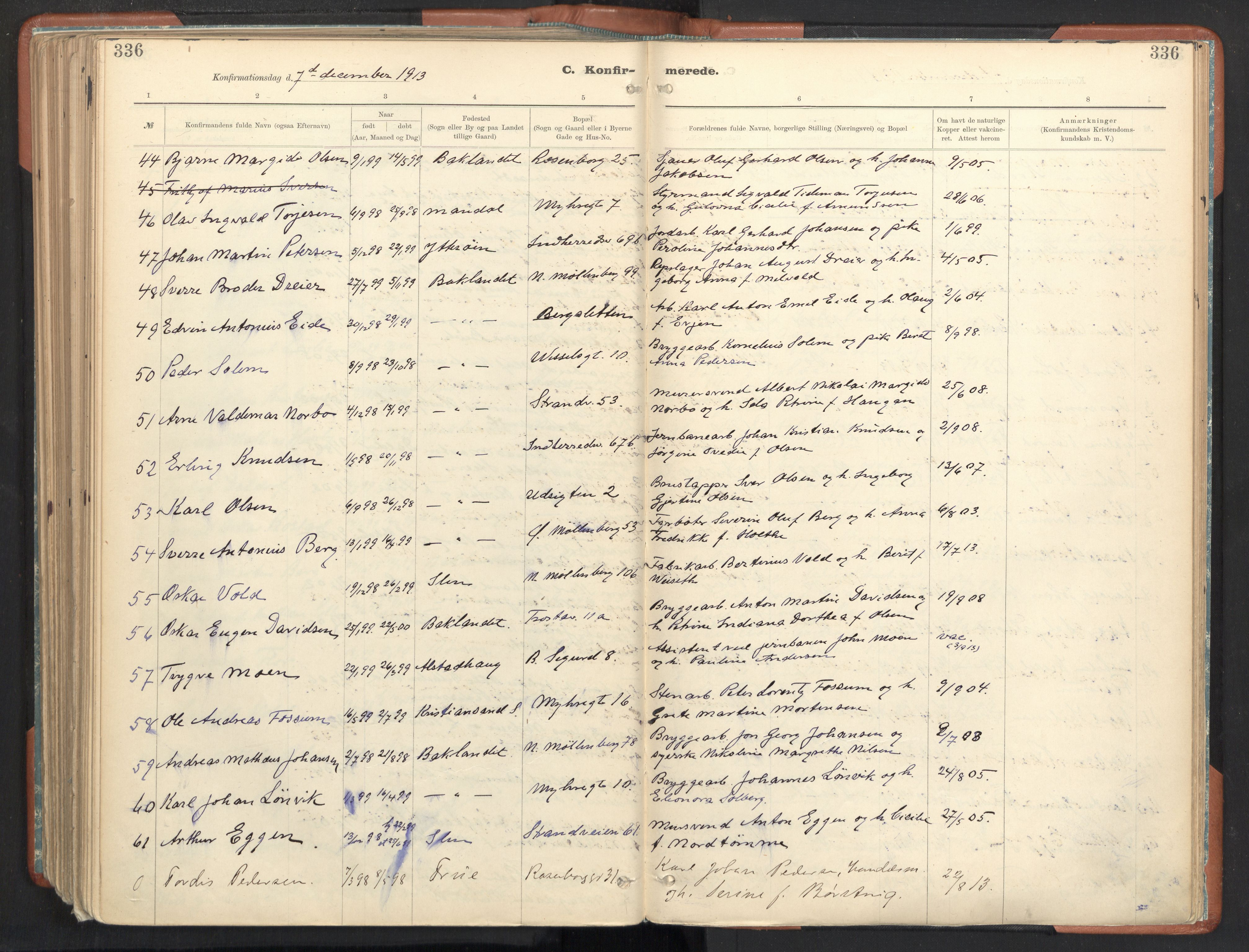 SAT, Ministerialprotokoller, klokkerbøker og fødselsregistre - Sør-Trøndelag, 605/L0243: Ministerialbok nr. 605A05, 1908-1923, s. 336