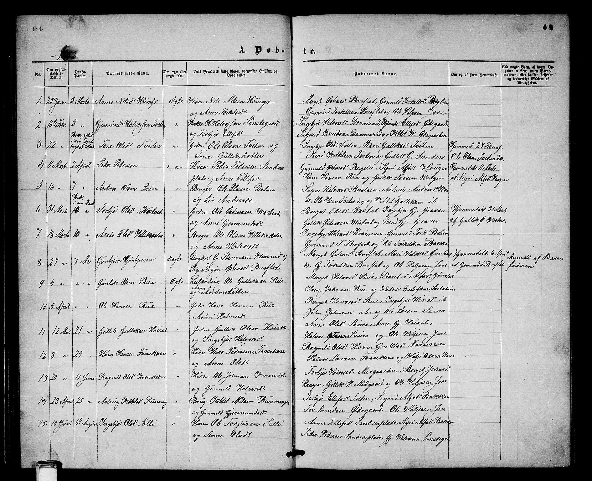 SAKO, Gransherad kirkebøker, G/Gb/L0002: Klokkerbok nr. II 2, 1860-1886, s. 42