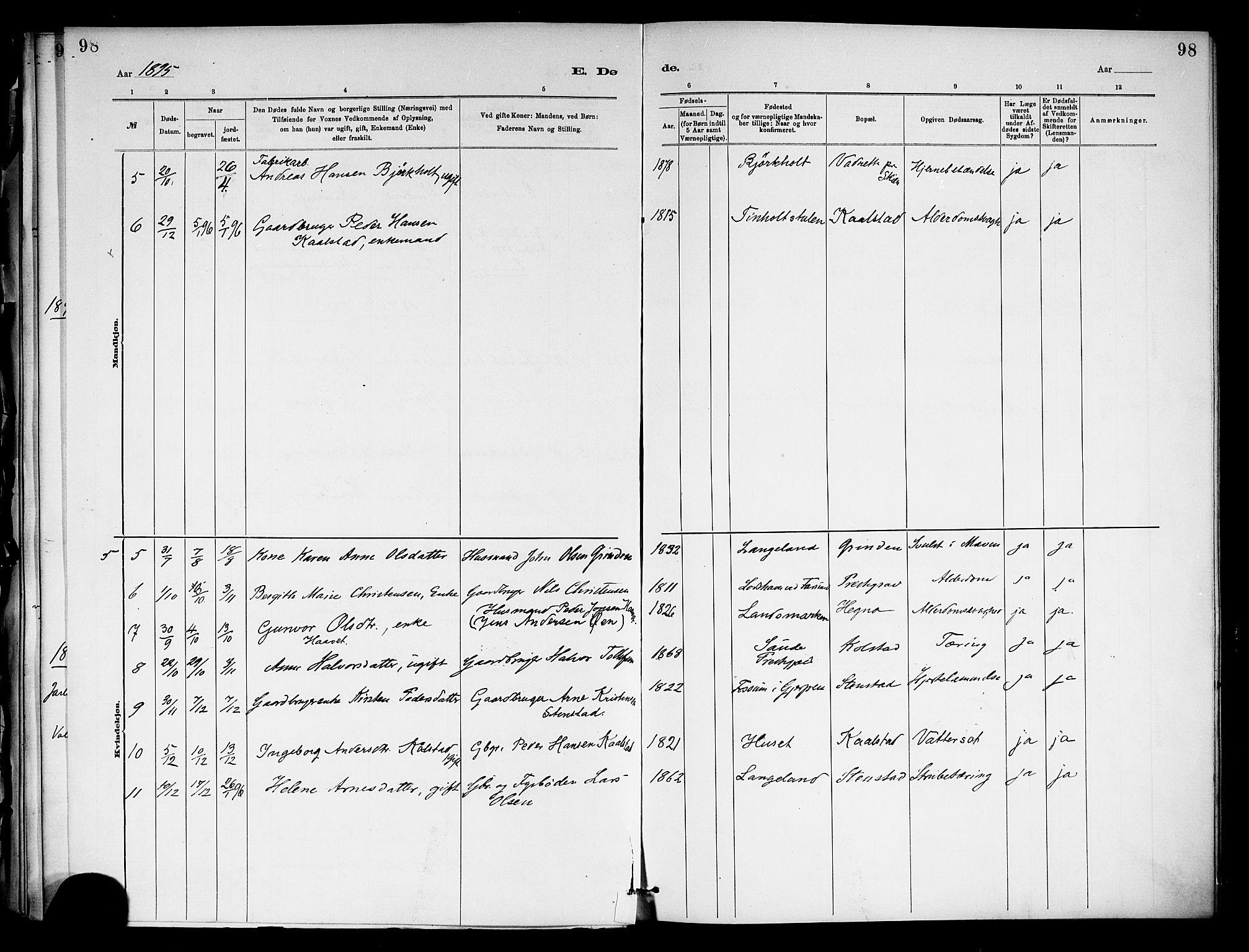 SAKO, Holla kirkebøker, F/Fa/L0009: Ministerialbok nr. 9, 1881-1897, s. 98