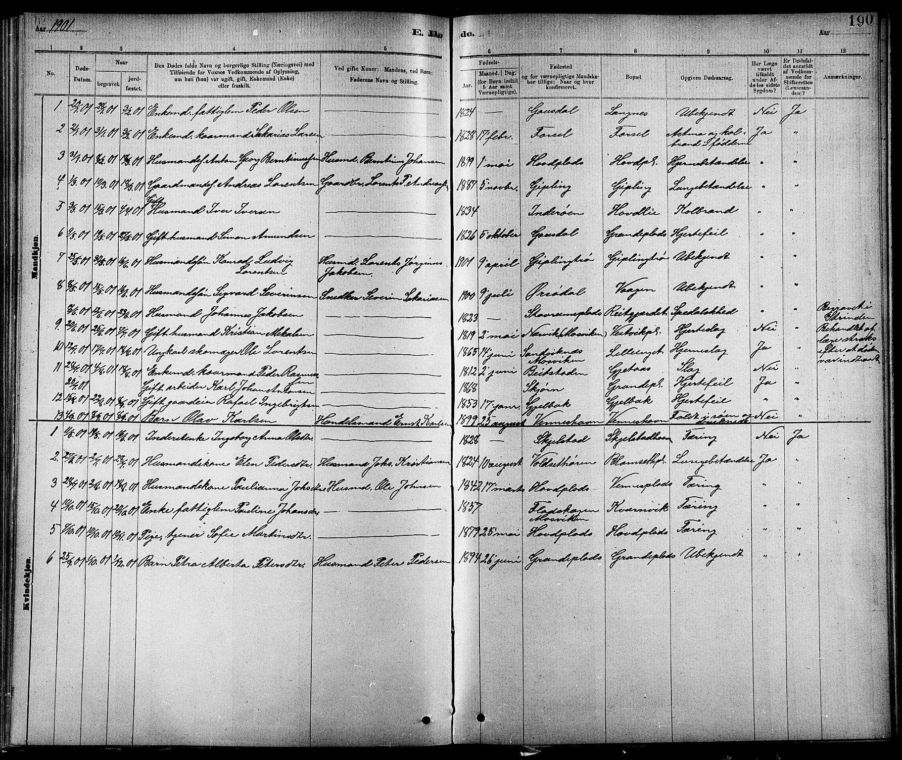 SAT, Ministerialprotokoller, klokkerbøker og fødselsregistre - Nord-Trøndelag, 744/L0423: Klokkerbok nr. 744C02, 1886-1905, s. 190