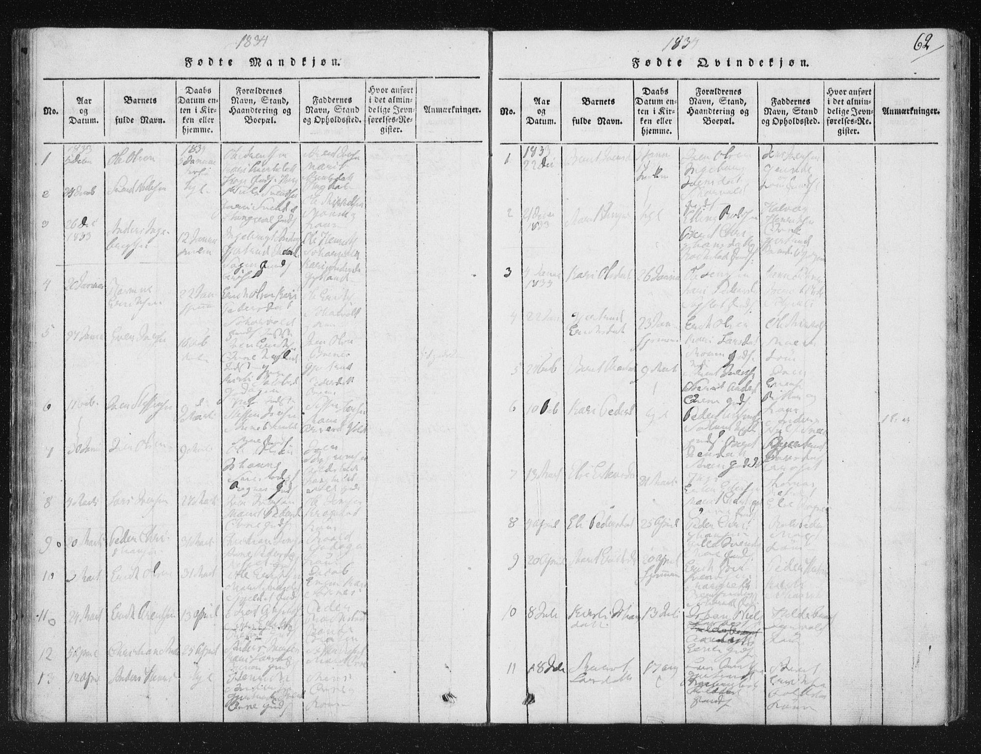 SAT, Ministerialprotokoller, klokkerbøker og fødselsregistre - Sør-Trøndelag, 687/L0996: Ministerialbok nr. 687A04, 1816-1842, s. 62