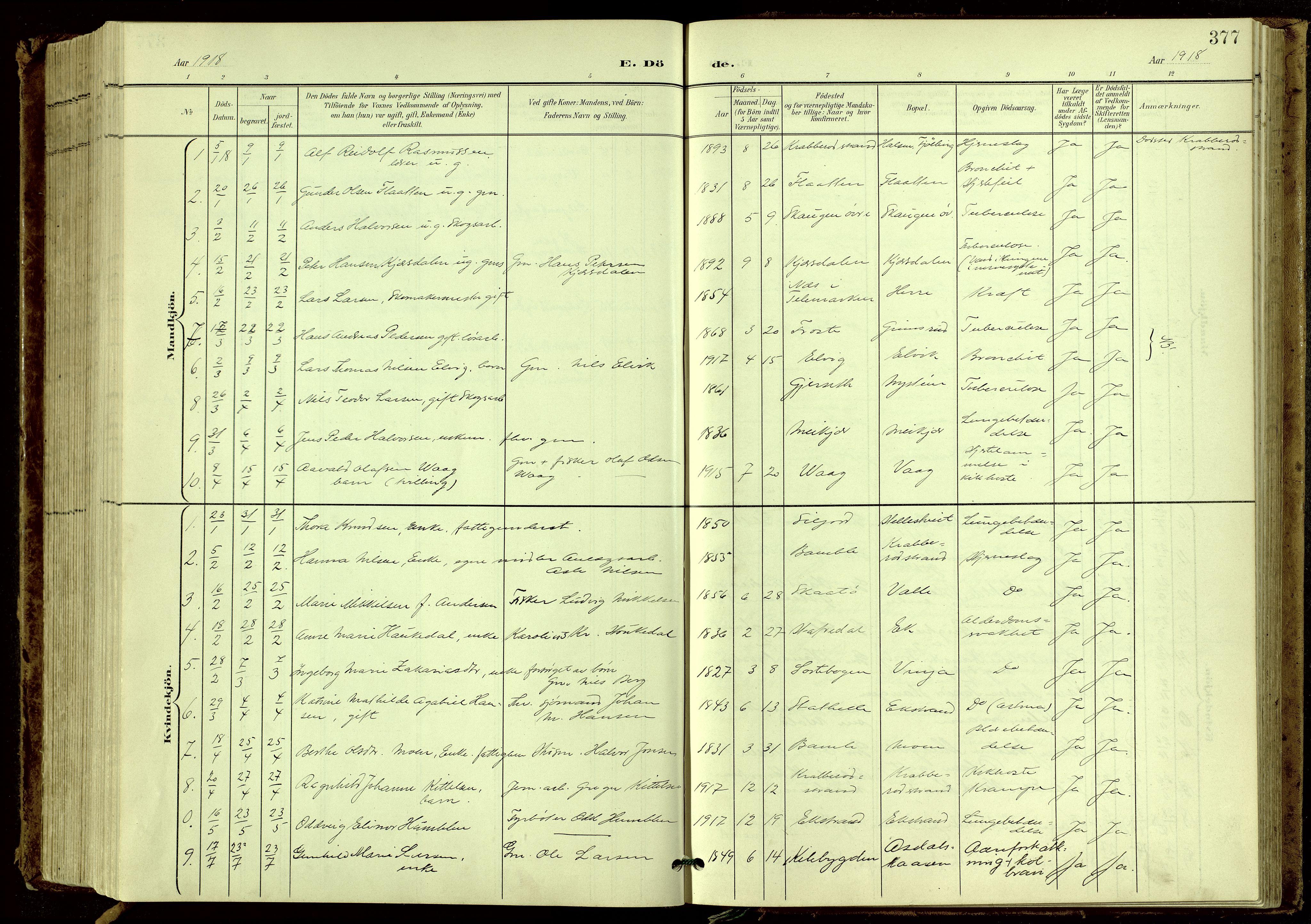 SAKO, Bamble kirkebøker, G/Ga/L0010: Klokkerbok nr. I 10, 1901-1919, s. 377
