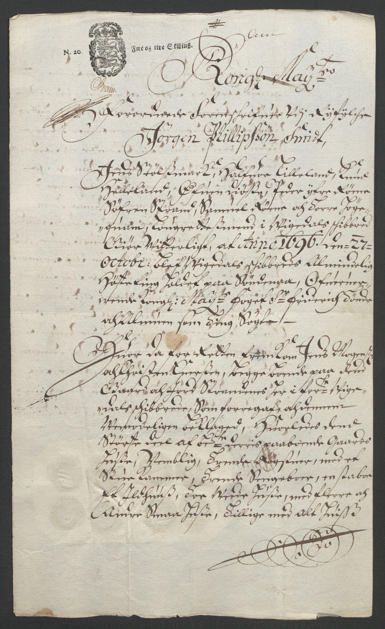 RA, Rentekammeret inntil 1814, Reviderte regnskaper, Fogderegnskap, R47/L2857: Fogderegnskap Ryfylke, 1694-1696, s. 297