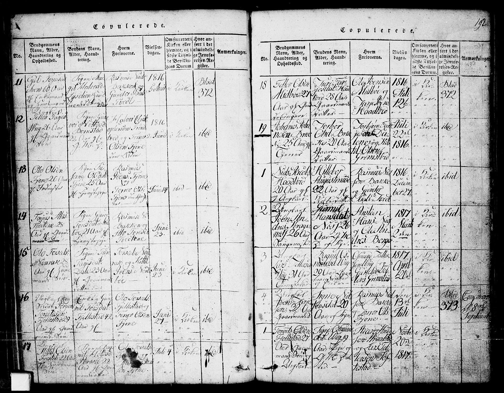 SAKO, Nissedal kirkebøker, G/Ga/L0001: Klokkerbok nr. I 1, 1814-1860, s. 192