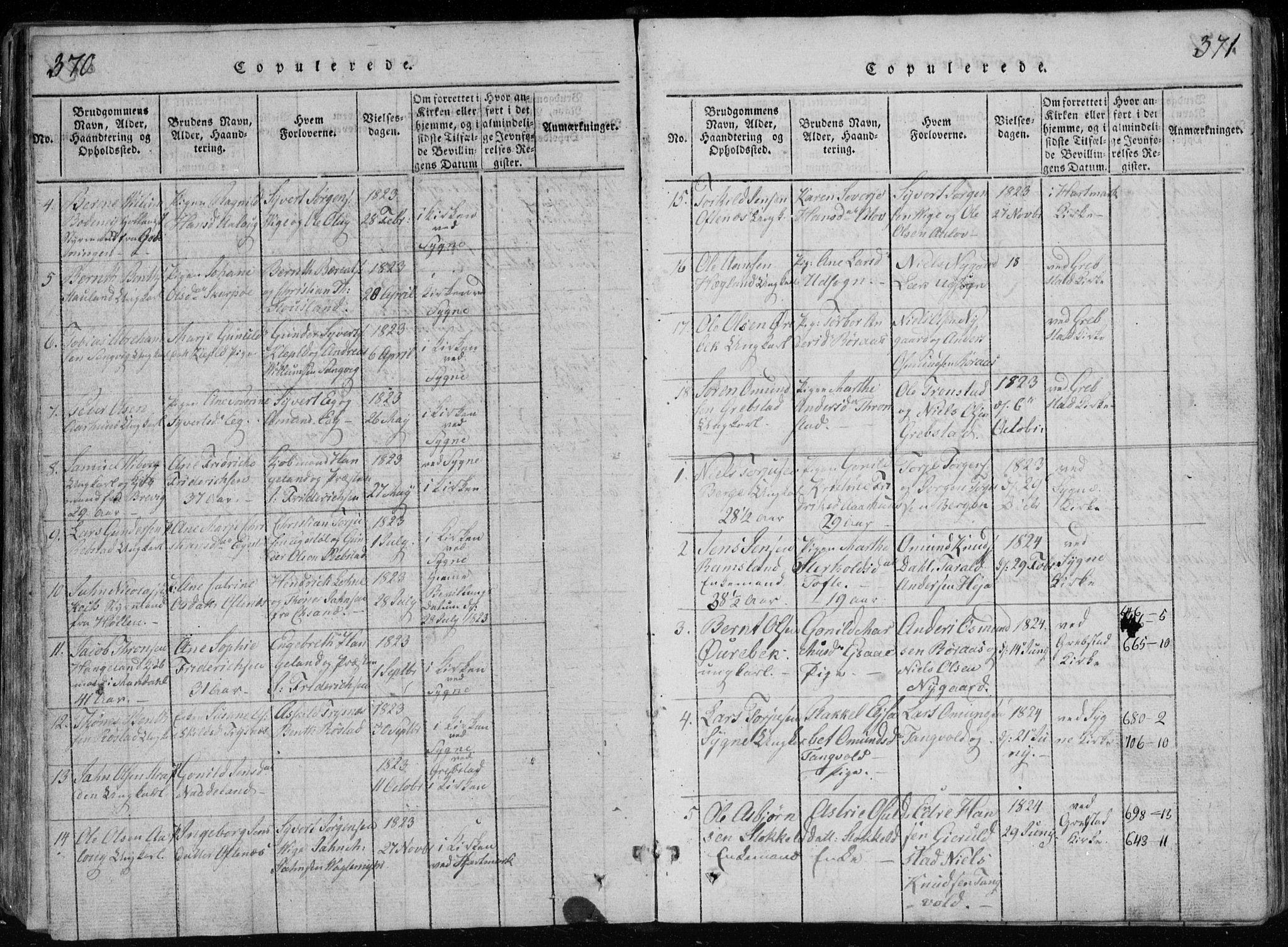SAK, Søgne sokneprestkontor, F/Fb/Fbb/L0002: Klokkerbok nr. B 2, 1821-1838, s. 370-371