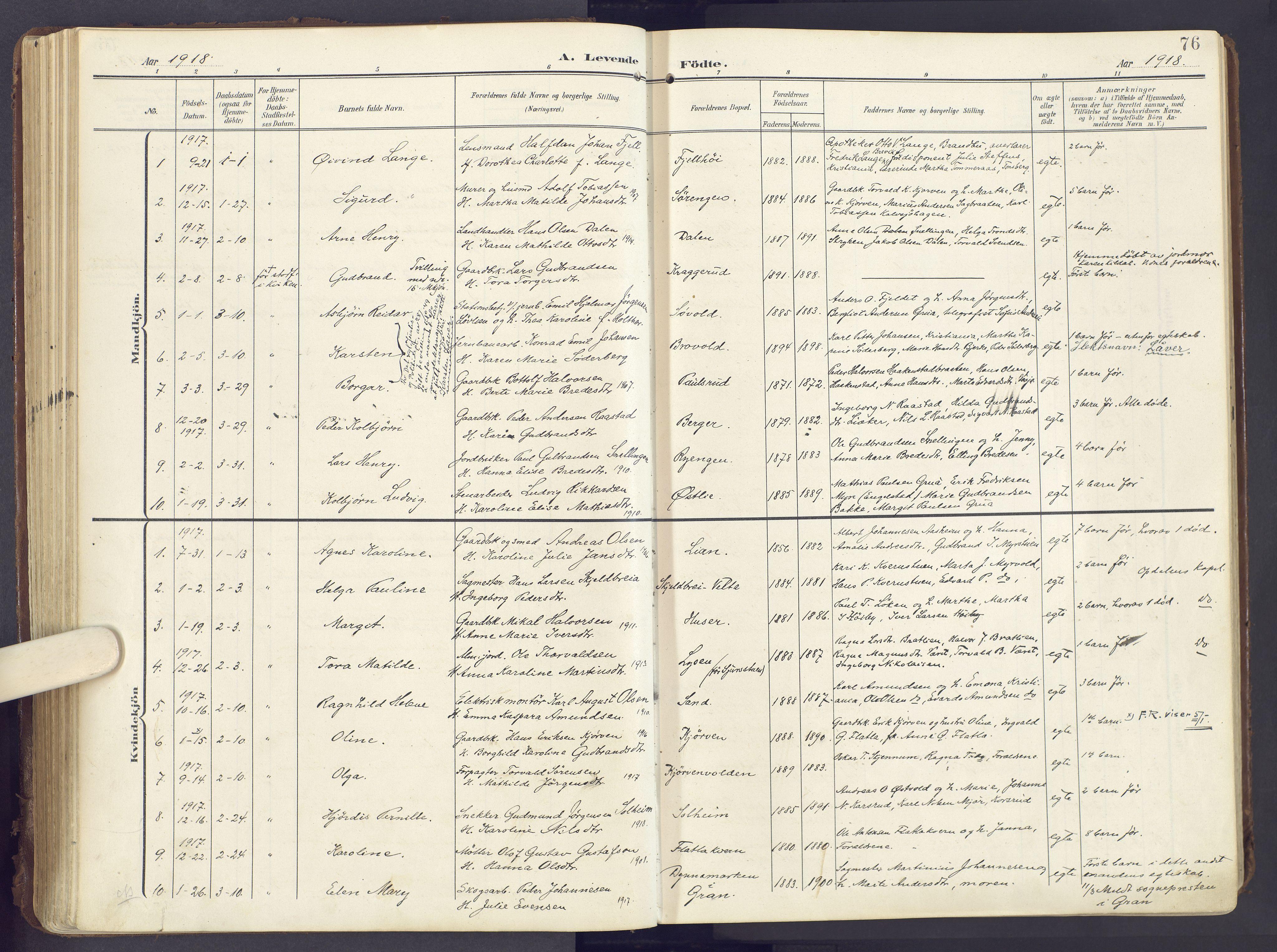 SAH, Lunner prestekontor, H/Ha/Haa/L0001: Ministerialbok nr. 1, 1907-1922, s. 76