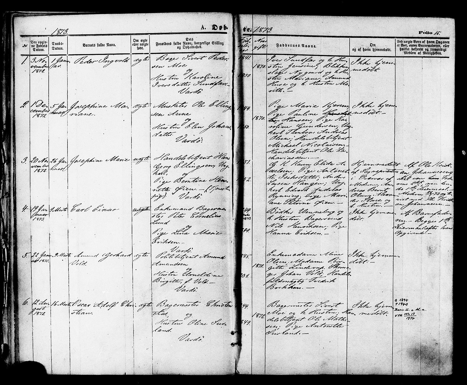 SATØ, Vardø sokneprestkontor, H/Ha/L0005kirke: Ministerialbok nr. 5, 1872-1878, s. 15