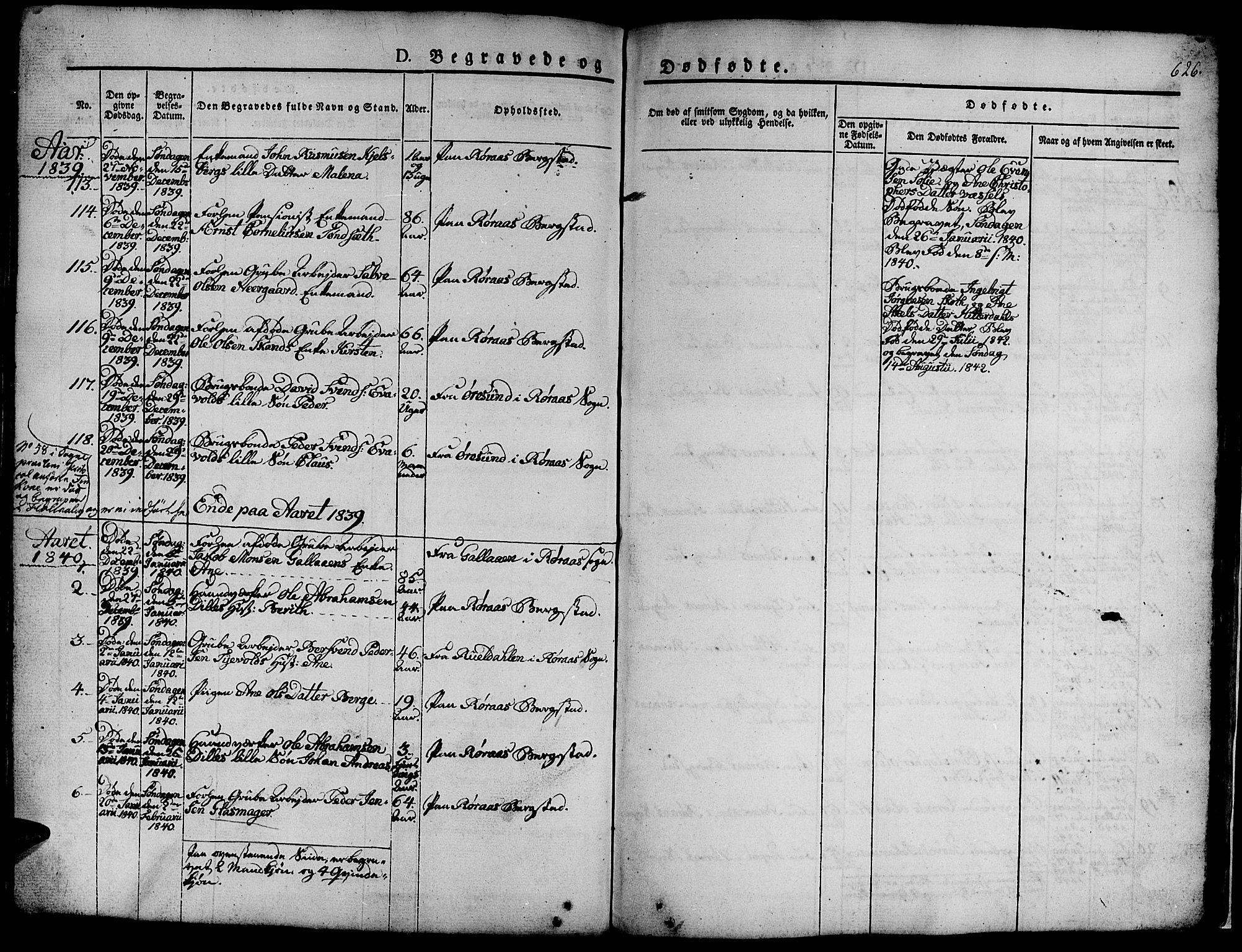 SAT, Ministerialprotokoller, klokkerbøker og fødselsregistre - Sør-Trøndelag, 681/L0939: Klokkerbok nr. 681C03, 1829-1855, s. 626