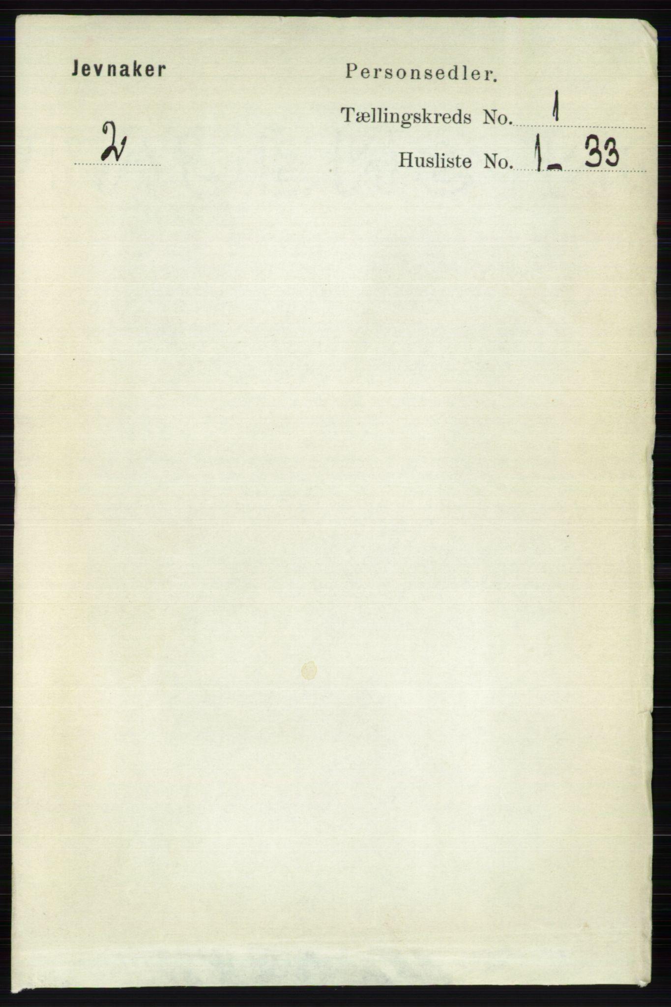 RA, Folketelling 1891 for 0532 Jevnaker herred, 1891, s. 113
