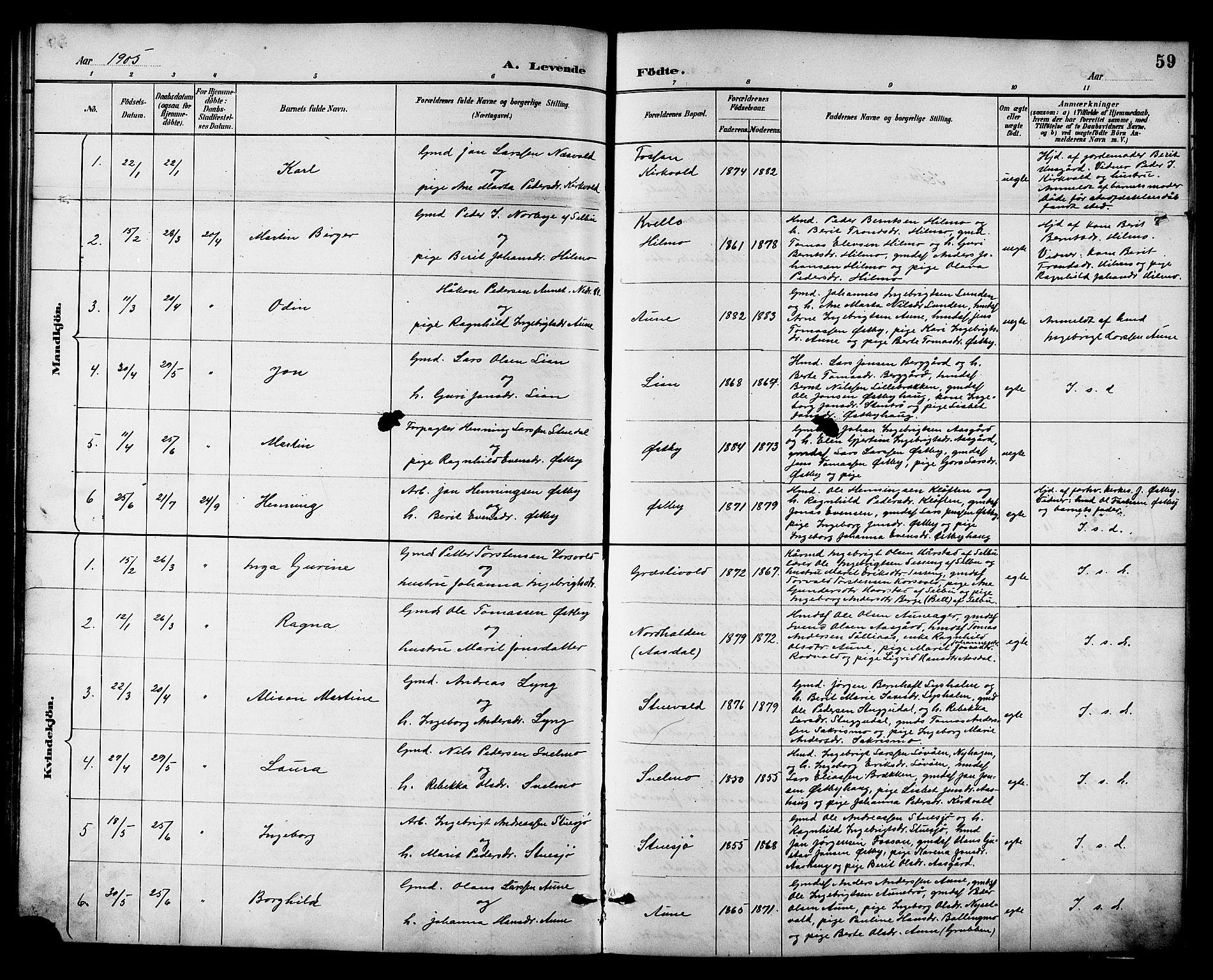 SAT, Ministerialprotokoller, klokkerbøker og fødselsregistre - Sør-Trøndelag, 698/L1167: Klokkerbok nr. 698C04, 1888-1907, s. 59
