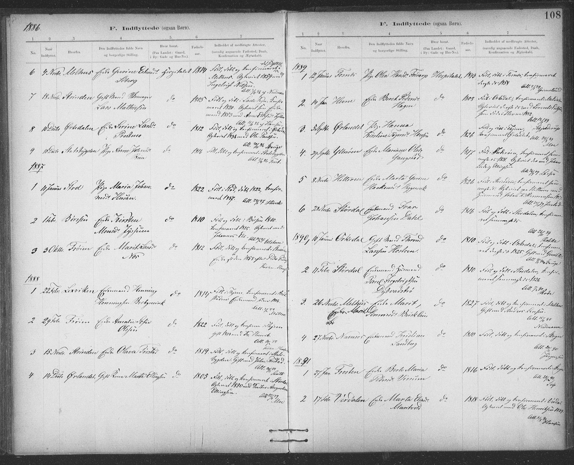SAT, Ministerialprotokoller, klokkerbøker og fødselsregistre - Sør-Trøndelag, 623/L0470: Ministerialbok nr. 623A04, 1884-1938, s. 108