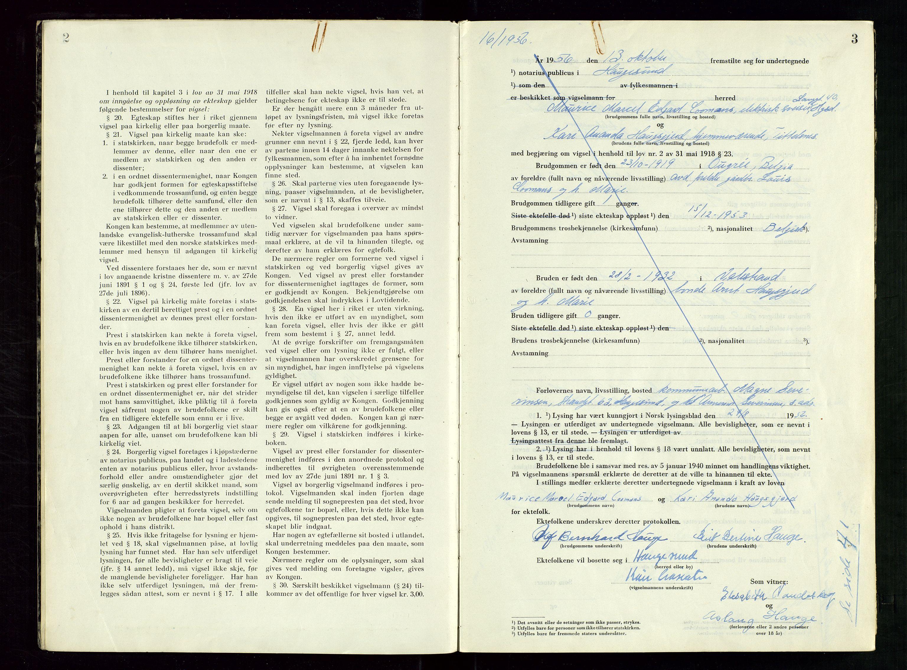 SAST, Haugesund tingrett, III/IIID/L0007: Vigselbok, 1956-1964, s. 2-3
