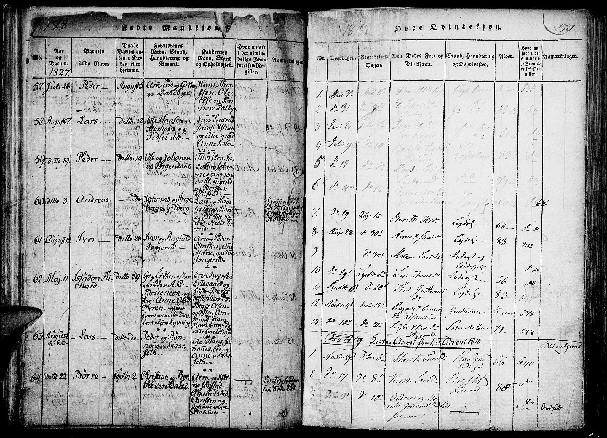 SAH, Fåberg prestekontor, Ministerialbok nr. 3, 1818-1833, s. 178-179