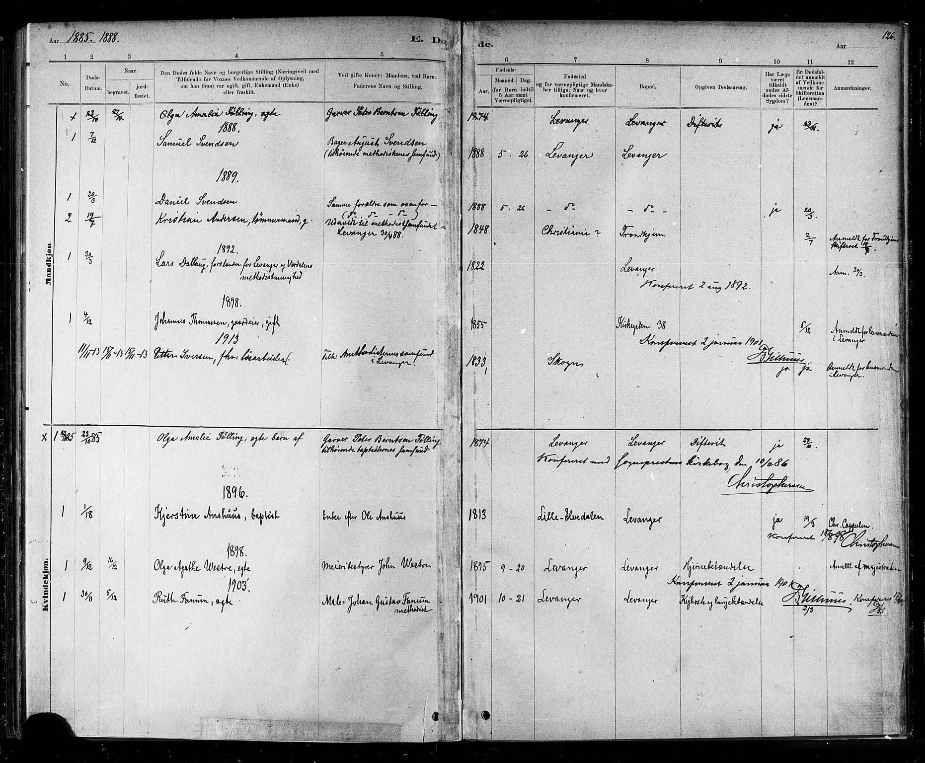 SAT, Ministerialprotokoller, klokkerbøker og fødselsregistre - Nord-Trøndelag, 720/L0192: Klokkerbok nr. 720C01, 1880-1917, s. 126