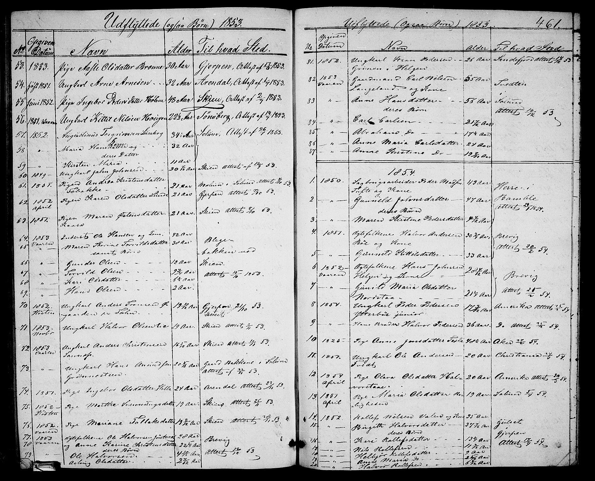 SAKO, Holla kirkebøker, G/Ga/L0003: Klokkerbok nr. I 3, 1849-1866, s. 461