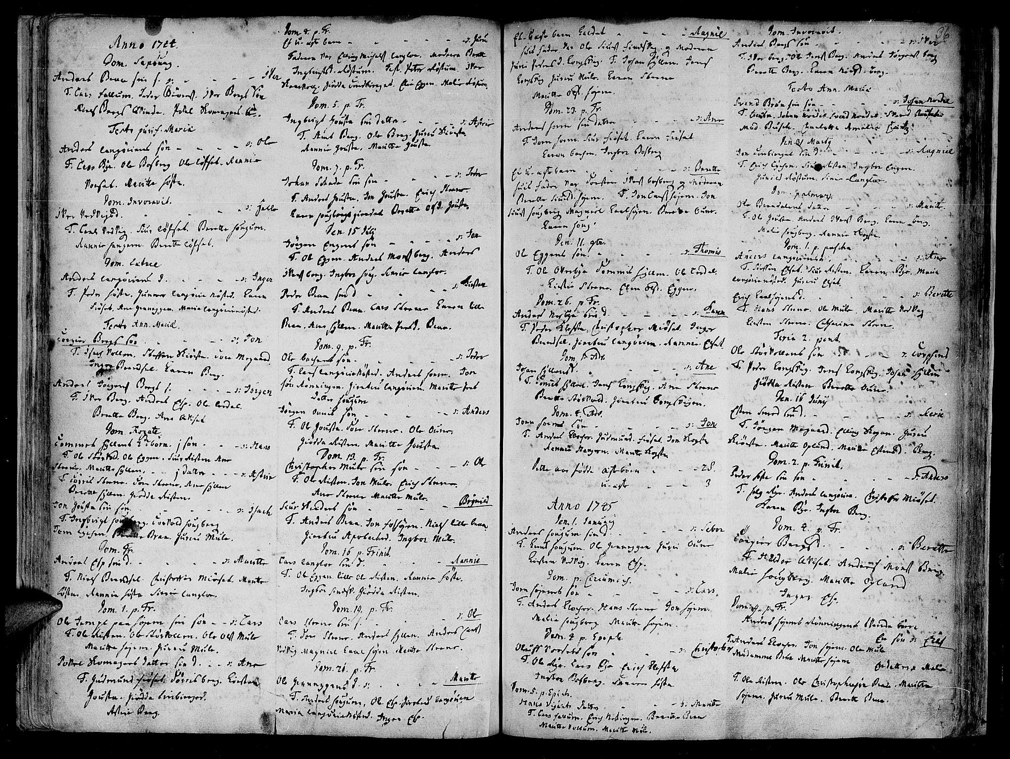 SAT, Ministerialprotokoller, klokkerbøker og fødselsregistre - Sør-Trøndelag, 612/L0368: Ministerialbok nr. 612A02, 1702-1753, s. 36