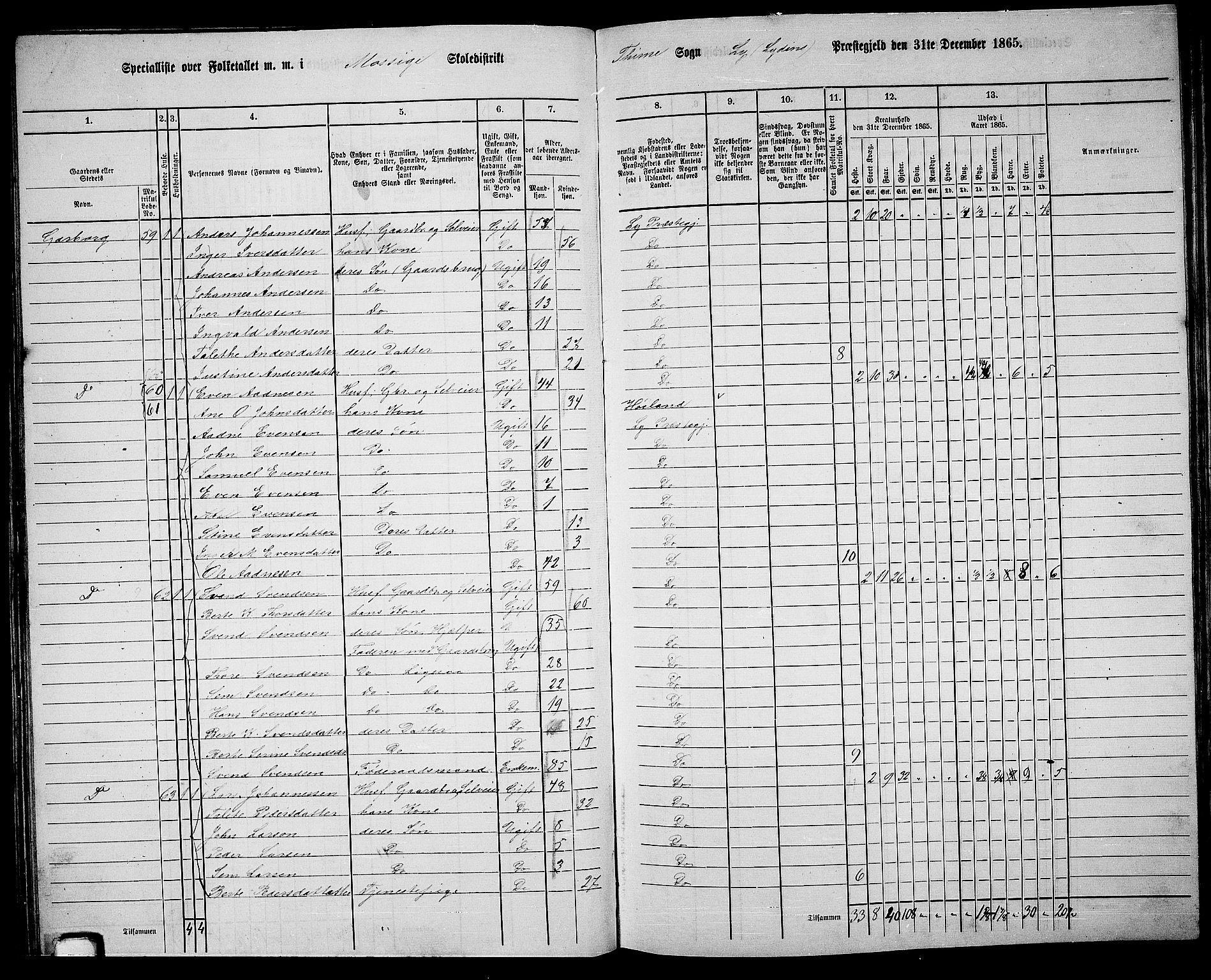 RA, Folketelling 1865 for 1121P Lye prestegjeld, 1865, s. 81