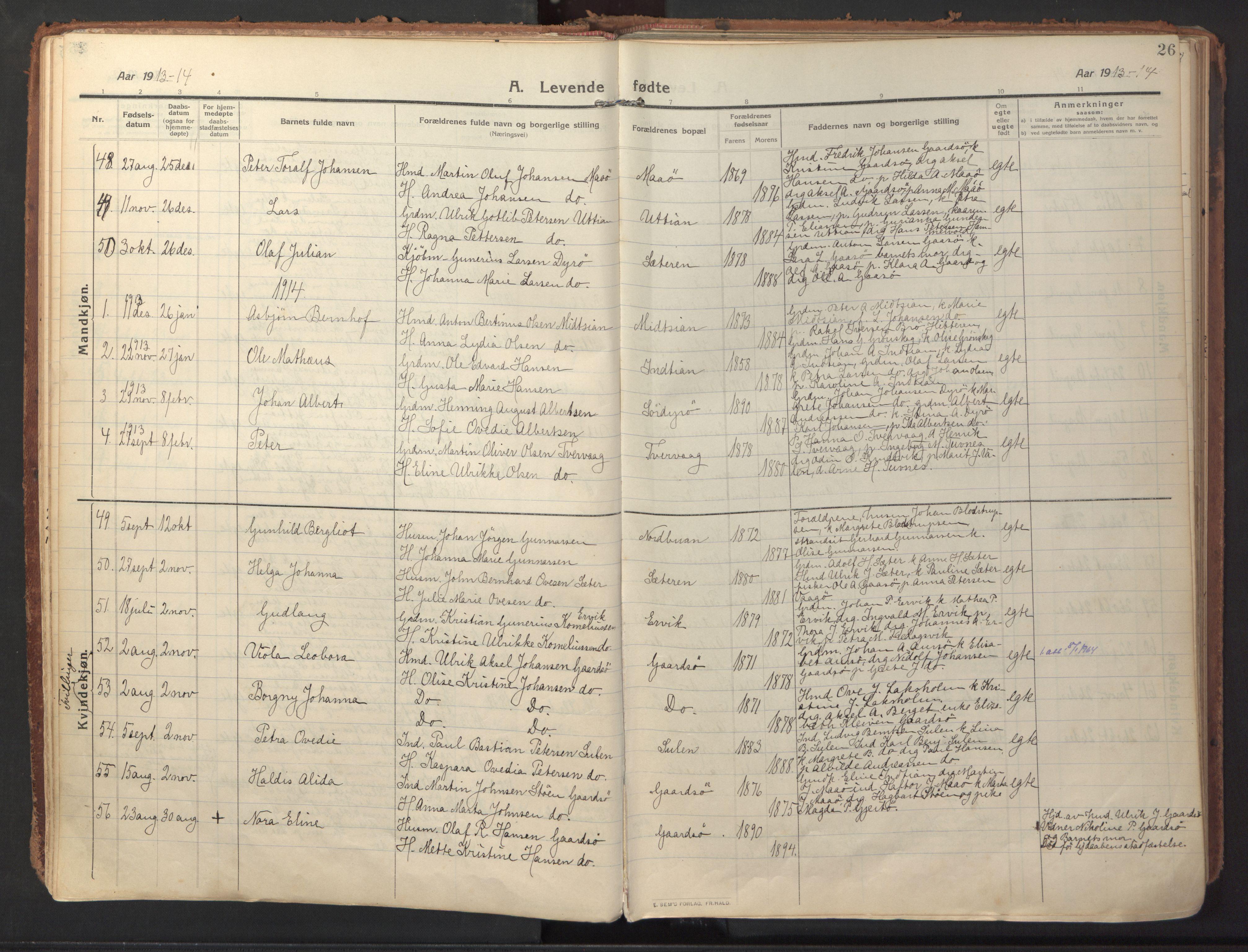 SAT, Ministerialprotokoller, klokkerbøker og fødselsregistre - Sør-Trøndelag, 640/L0581: Ministerialbok nr. 640A06, 1910-1924, s. 26