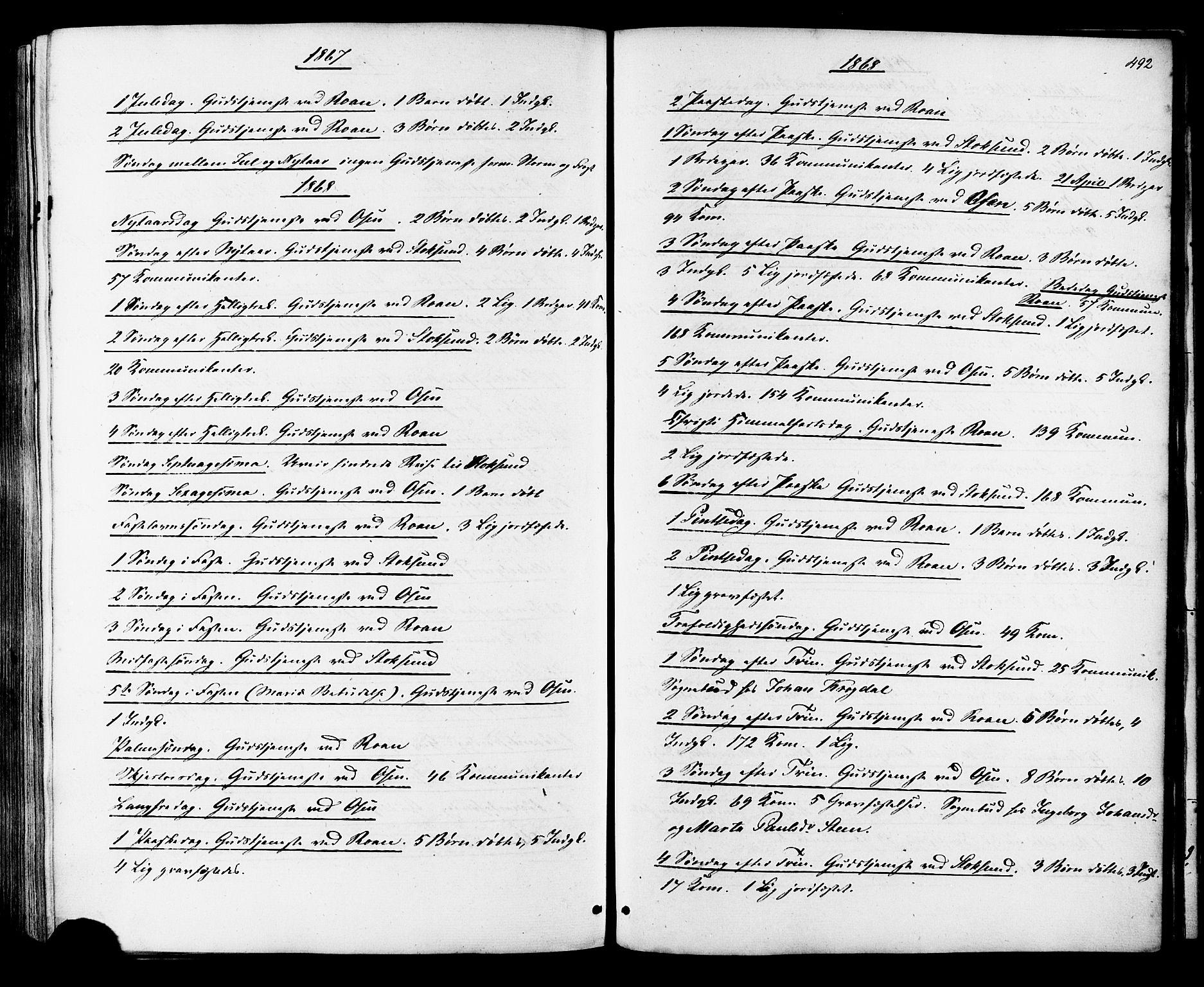 SAT, Ministerialprotokoller, klokkerbøker og fødselsregistre - Sør-Trøndelag, 657/L0706: Ministerialbok nr. 657A07, 1867-1878, s. 492