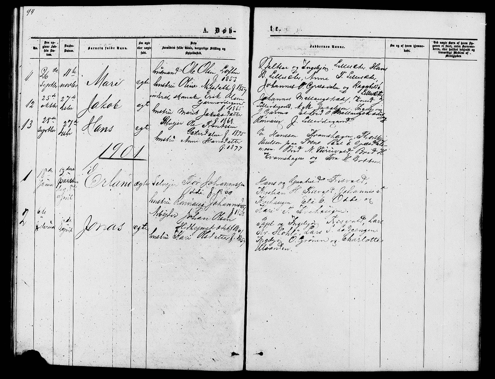 SAH, Lom prestekontor, L/L0005: Klokkerbok nr. 5, 1876-1901, s. 94-95