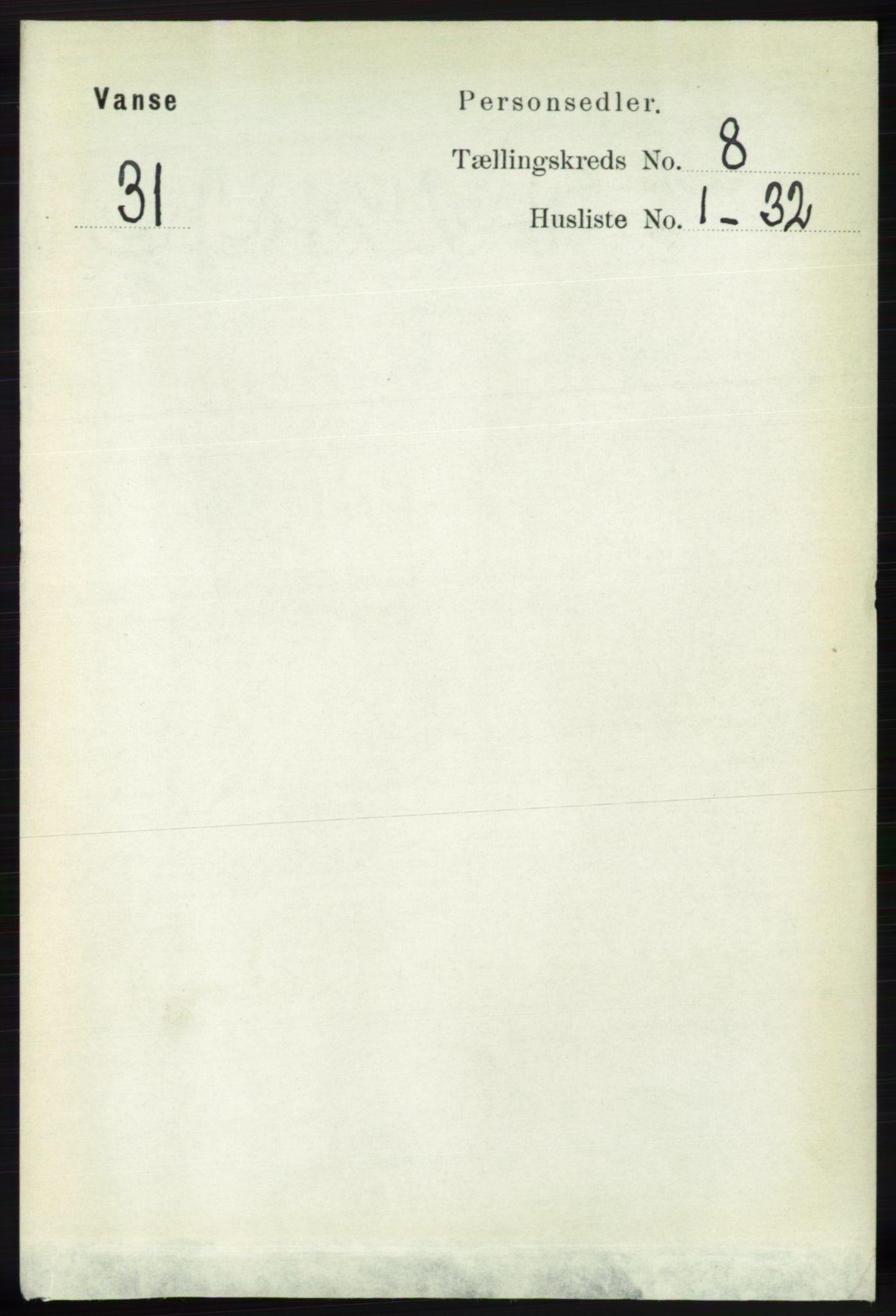 RA, Folketelling 1891 for 1041 Vanse herred, 1891, s. 4905