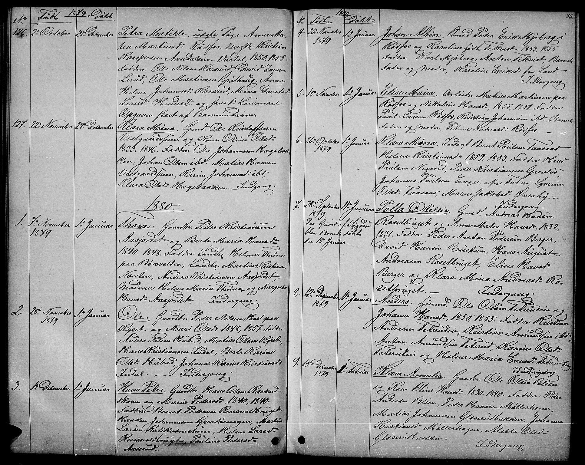 SAH, Vestre Toten prestekontor, Klokkerbok nr. 6, 1870-1887, s. 86