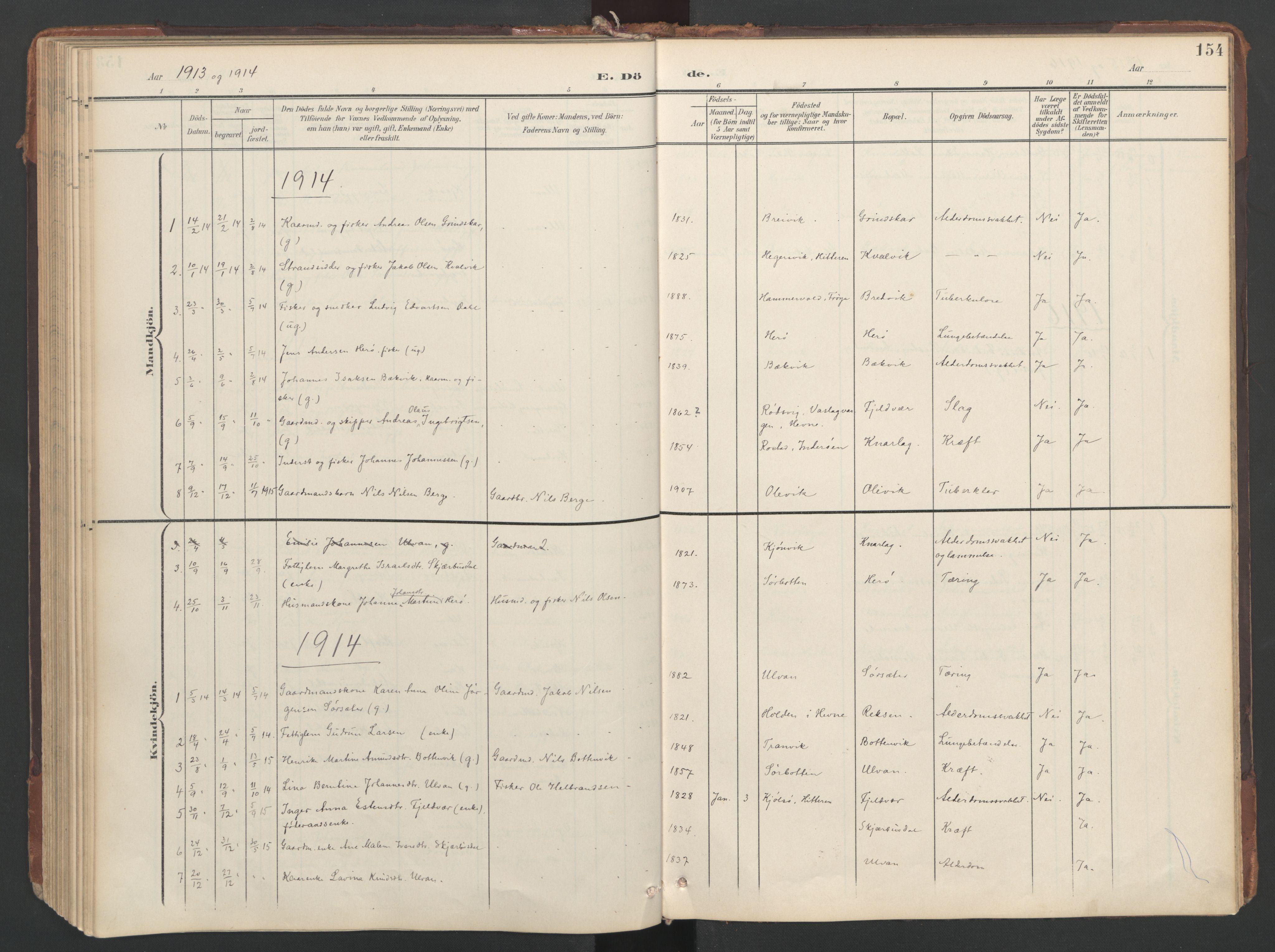 SAT, Ministerialprotokoller, klokkerbøker og fødselsregistre - Sør-Trøndelag, 638/L0568: Ministerialbok nr. 638A01, 1901-1916, s. 154