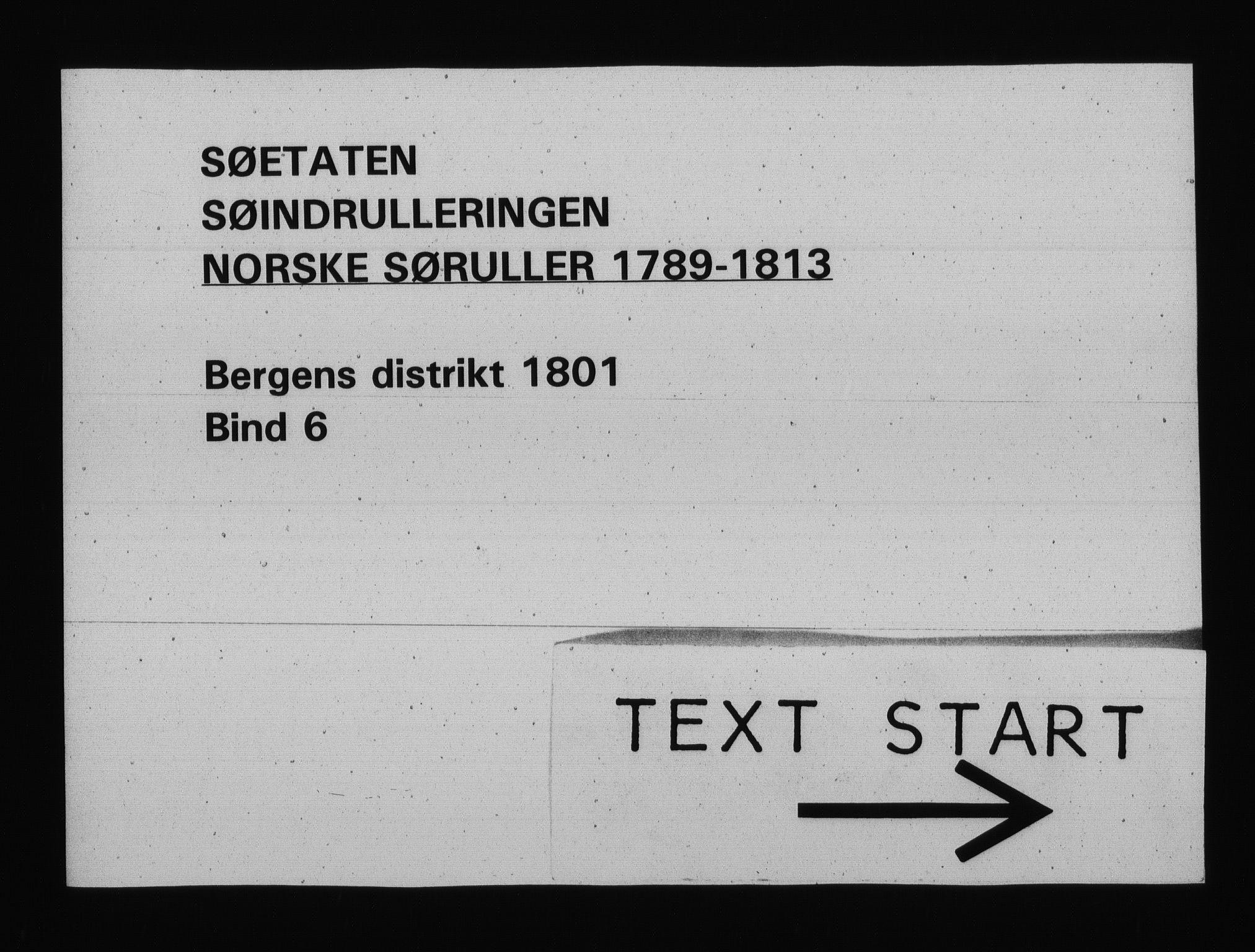 RA, Sjøetaten, F/L0238: Bergen distrikt, bind 6, 1801