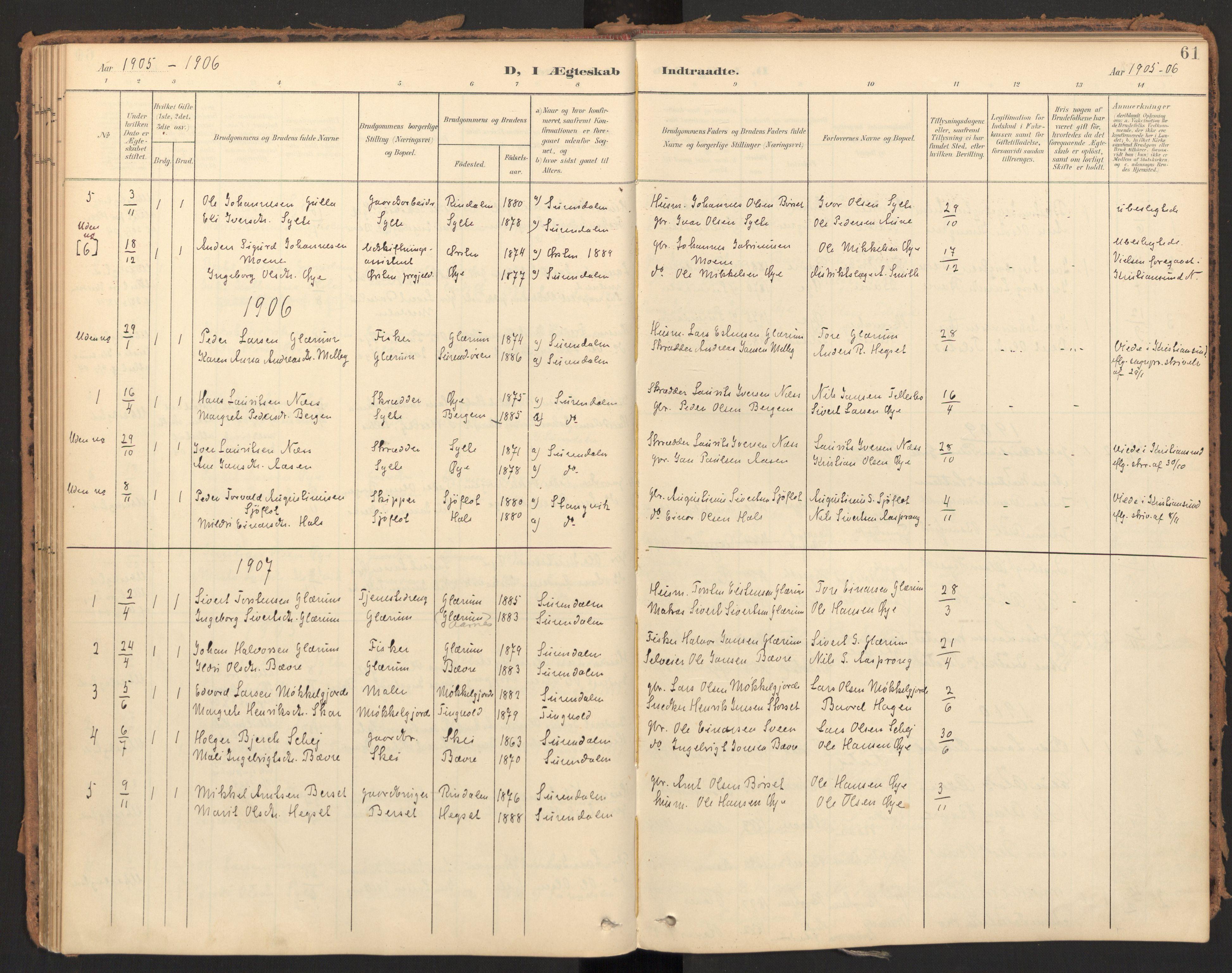 SAT, Ministerialprotokoller, klokkerbøker og fødselsregistre - Møre og Romsdal, 595/L1048: Ministerialbok nr. 595A10, 1900-1917, s. 61