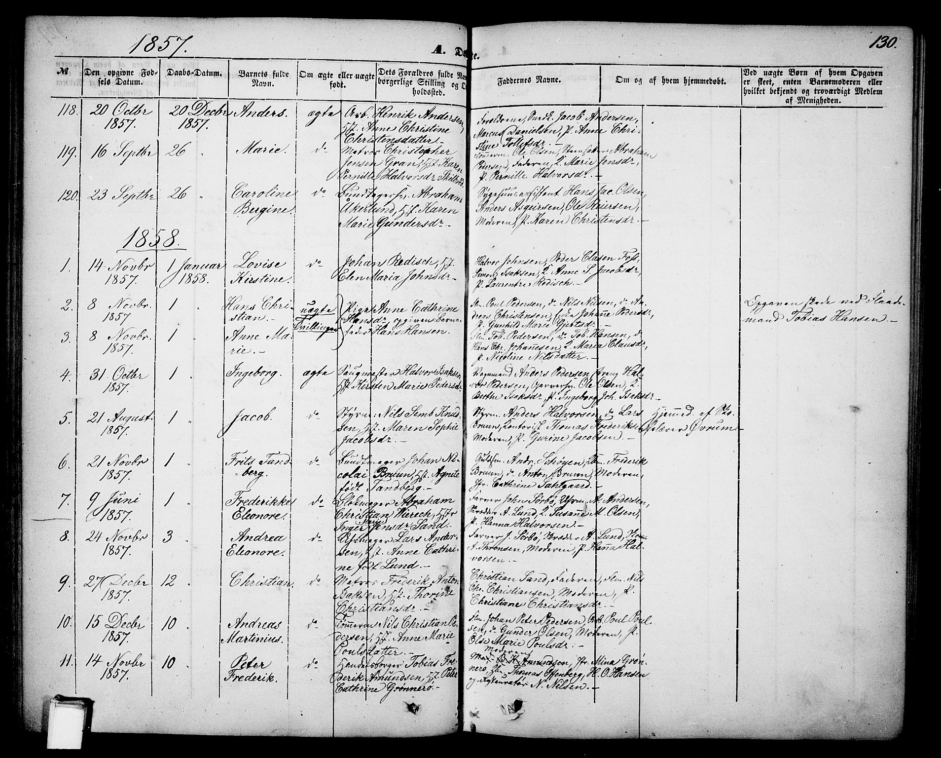 SAKO, Skien kirkebøker, G/Ga/L0004: Klokkerbok nr. 4, 1843-1867, s. 130