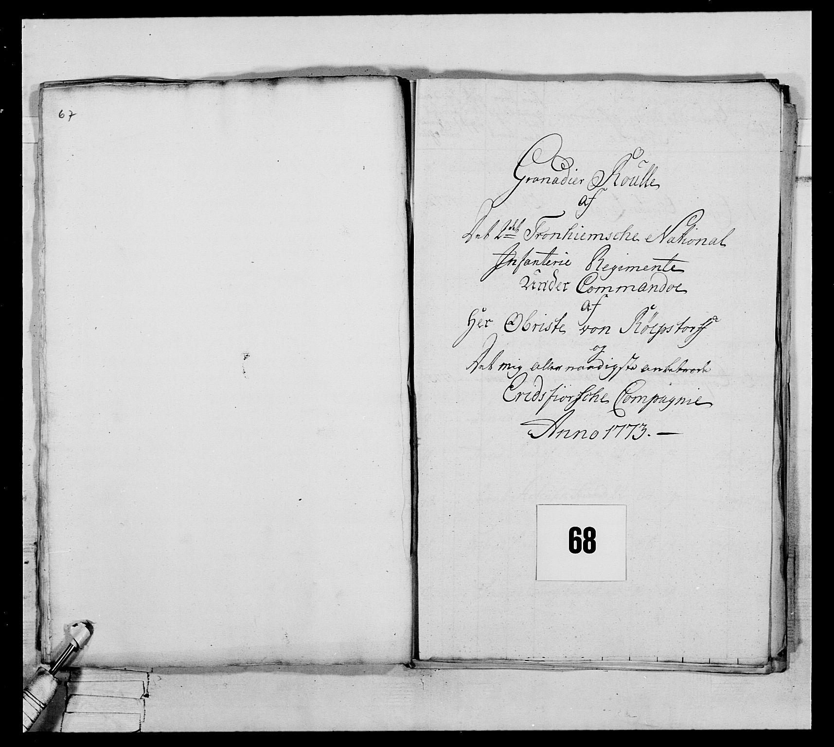 RA, Generalitets- og kommissariatskollegiet, Det kongelige norske kommissariatskollegium, E/Eh/L0076: 2. Trondheimske nasjonale infanteriregiment, 1766-1773, s. 280