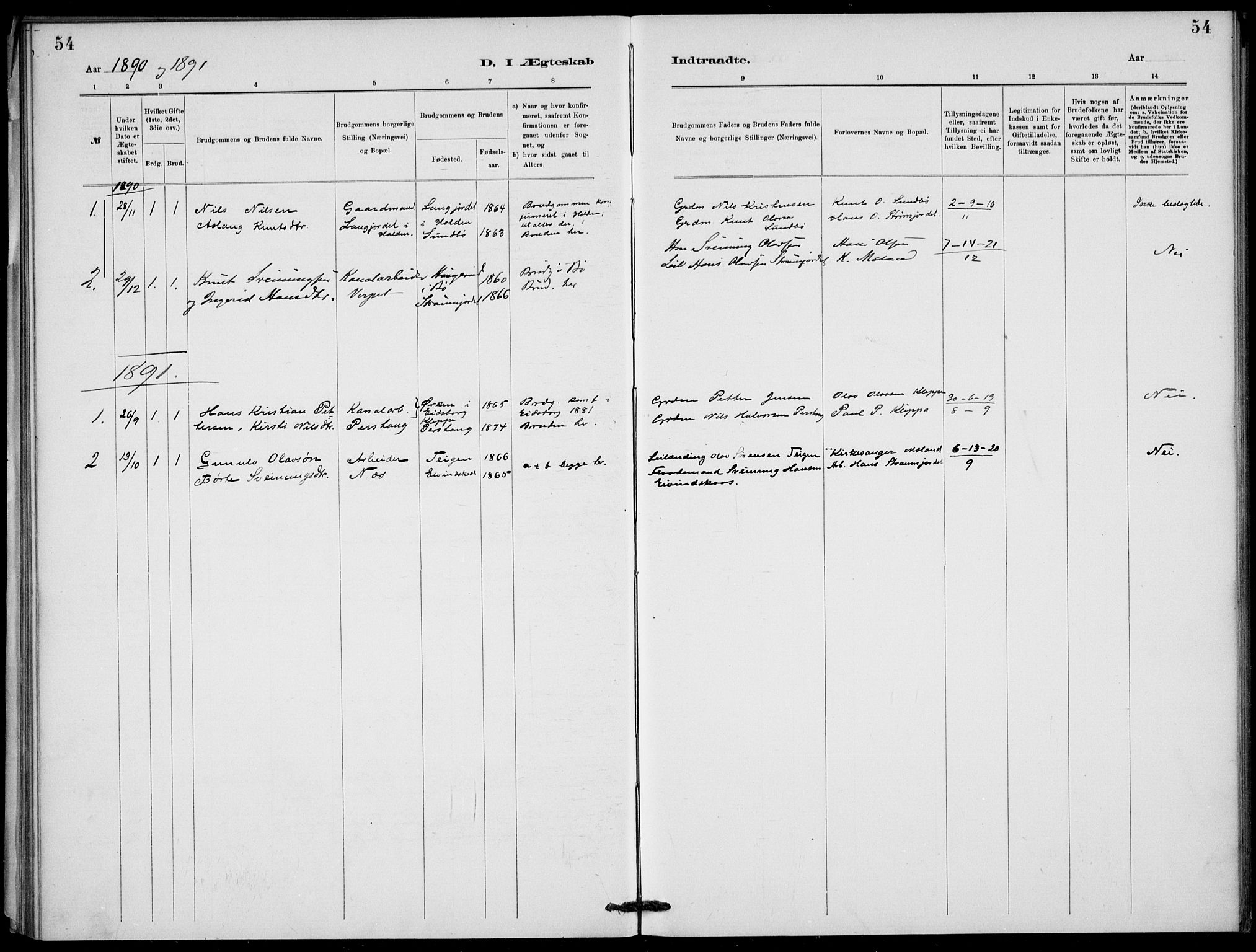 SAKO, Lunde kirkebøker, F/Fb/L0003: Ministerialbok nr. II 3, 1882-1891, s. 54
