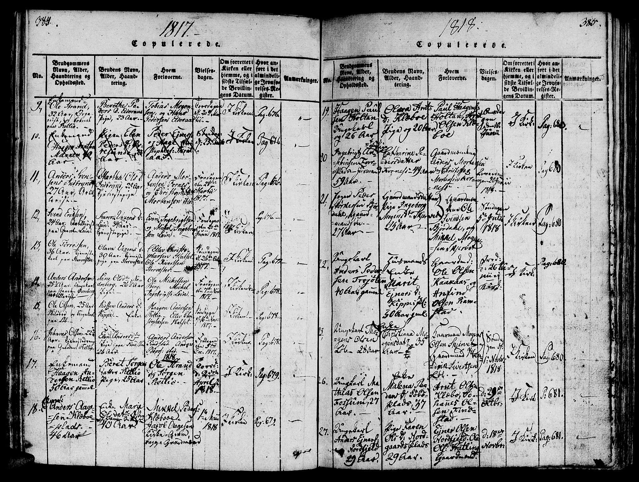 SAT, Ministerialprotokoller, klokkerbøker og fødselsregistre - Nord-Trøndelag, 746/L0441: Ministerialbok nr. 746A03 /1, 1816-1827, s. 384-385