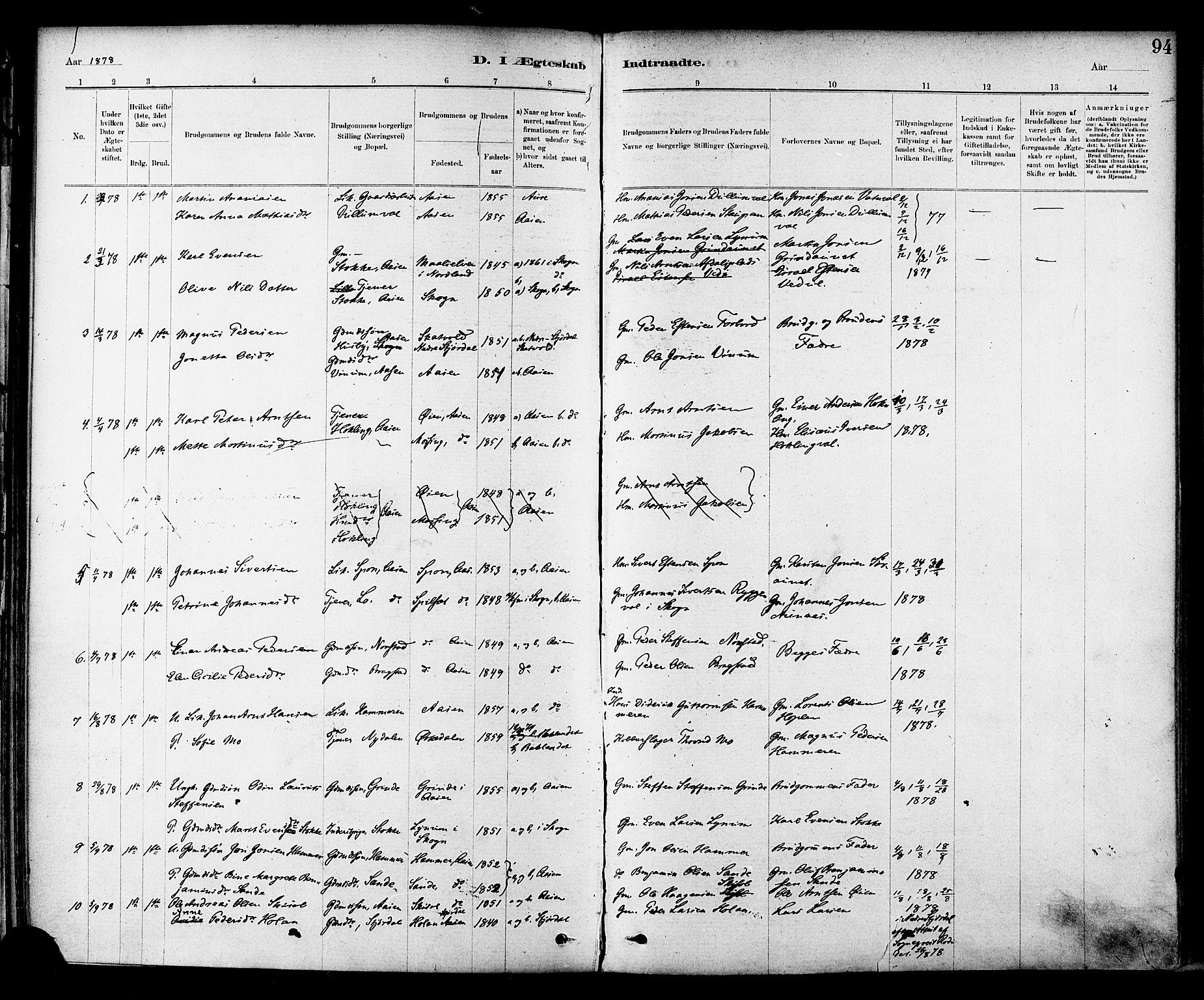 SAT, Ministerialprotokoller, klokkerbøker og fødselsregistre - Nord-Trøndelag, 714/L0130: Ministerialbok nr. 714A01, 1878-1895, s. 94