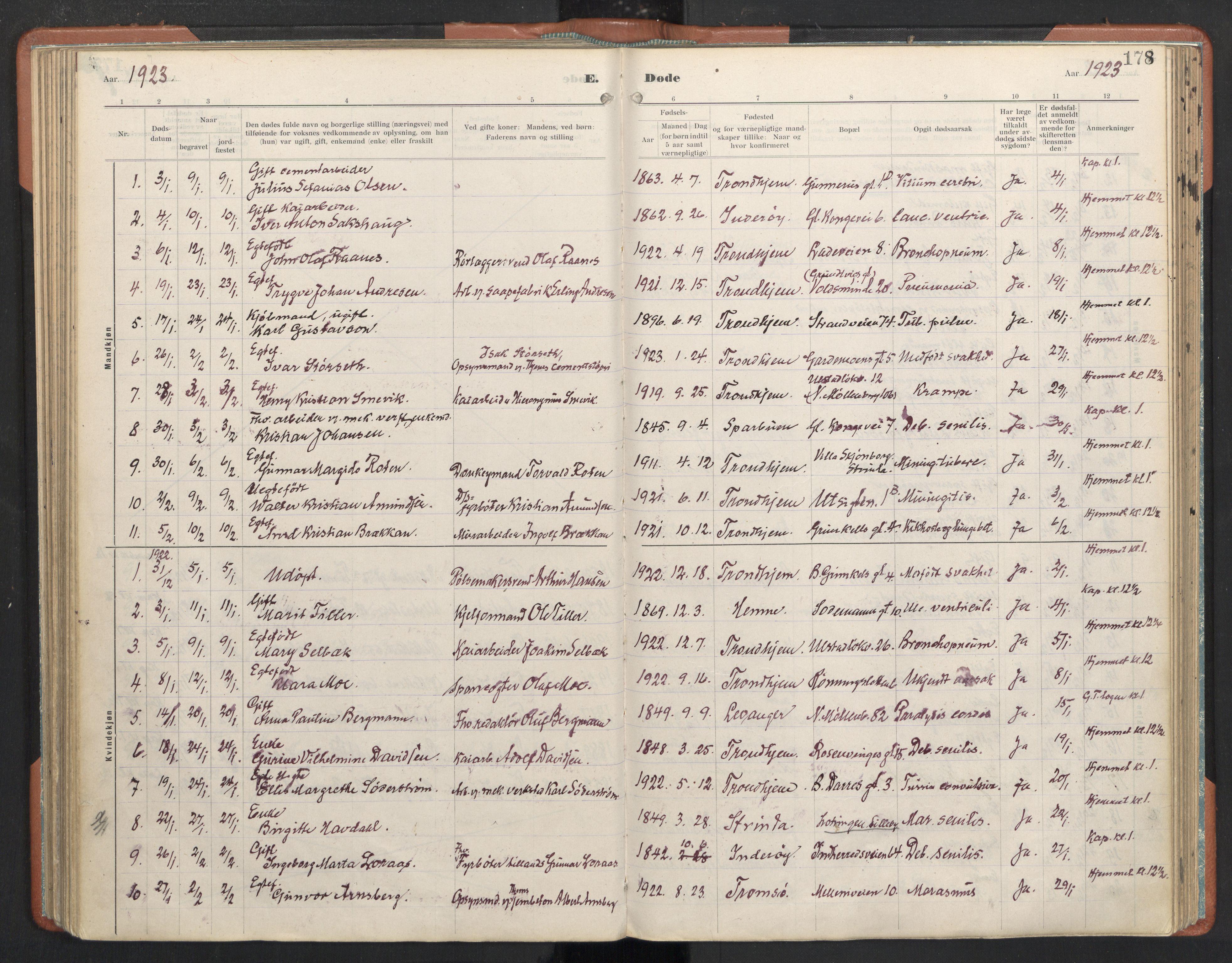 SAT, Ministerialprotokoller, klokkerbøker og fødselsregistre - Sør-Trøndelag, 605/L0245: Ministerialbok nr. 605A07, 1916-1938, s. 178