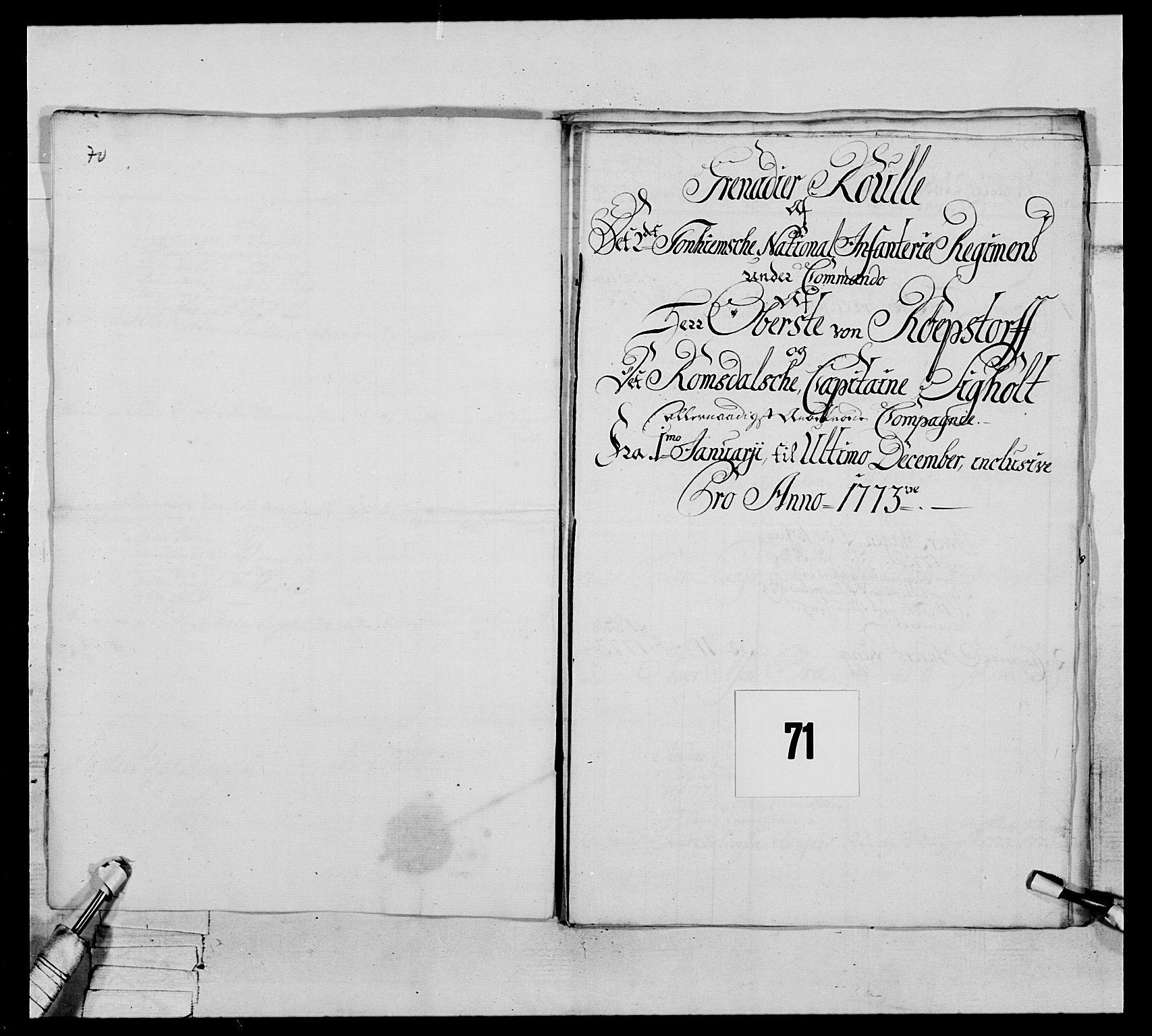 RA, Generalitets- og kommissariatskollegiet, Det kongelige norske kommissariatskollegium, E/Eh/L0076: 2. Trondheimske nasjonale infanteriregiment, 1766-1773, s. 310