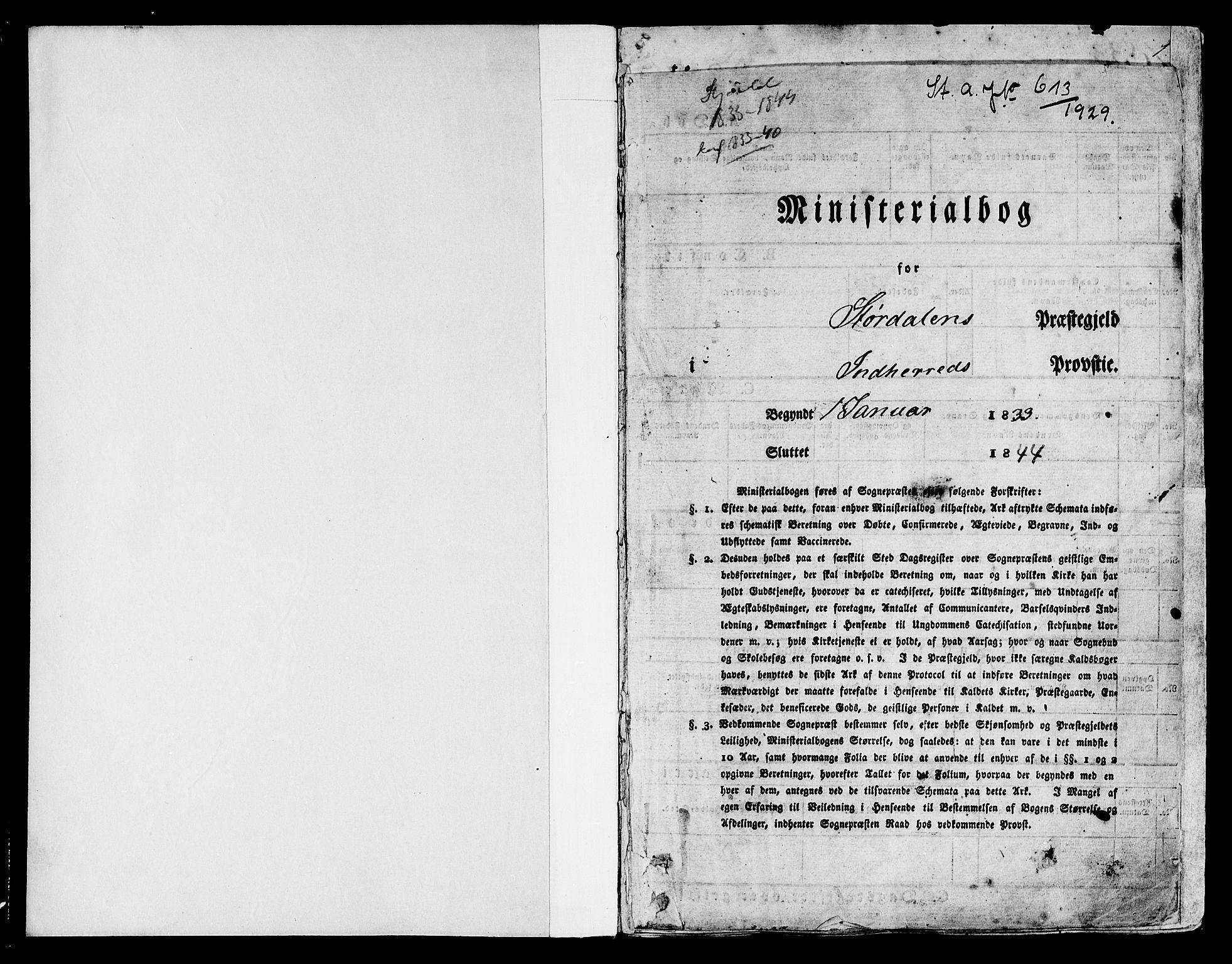 SAT, Ministerialprotokoller, klokkerbøker og fødselsregistre - Nord-Trøndelag, 709/L0071: Ministerialbok nr. 709A11, 1833-1844