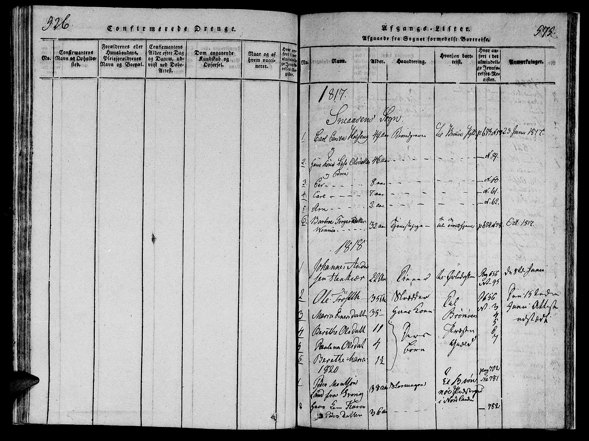 SAT, Ministerialprotokoller, klokkerbøker og fødselsregistre - Nord-Trøndelag, 749/L0479: Klokkerbok nr. 749C01, 1817-1829, s. 526-575