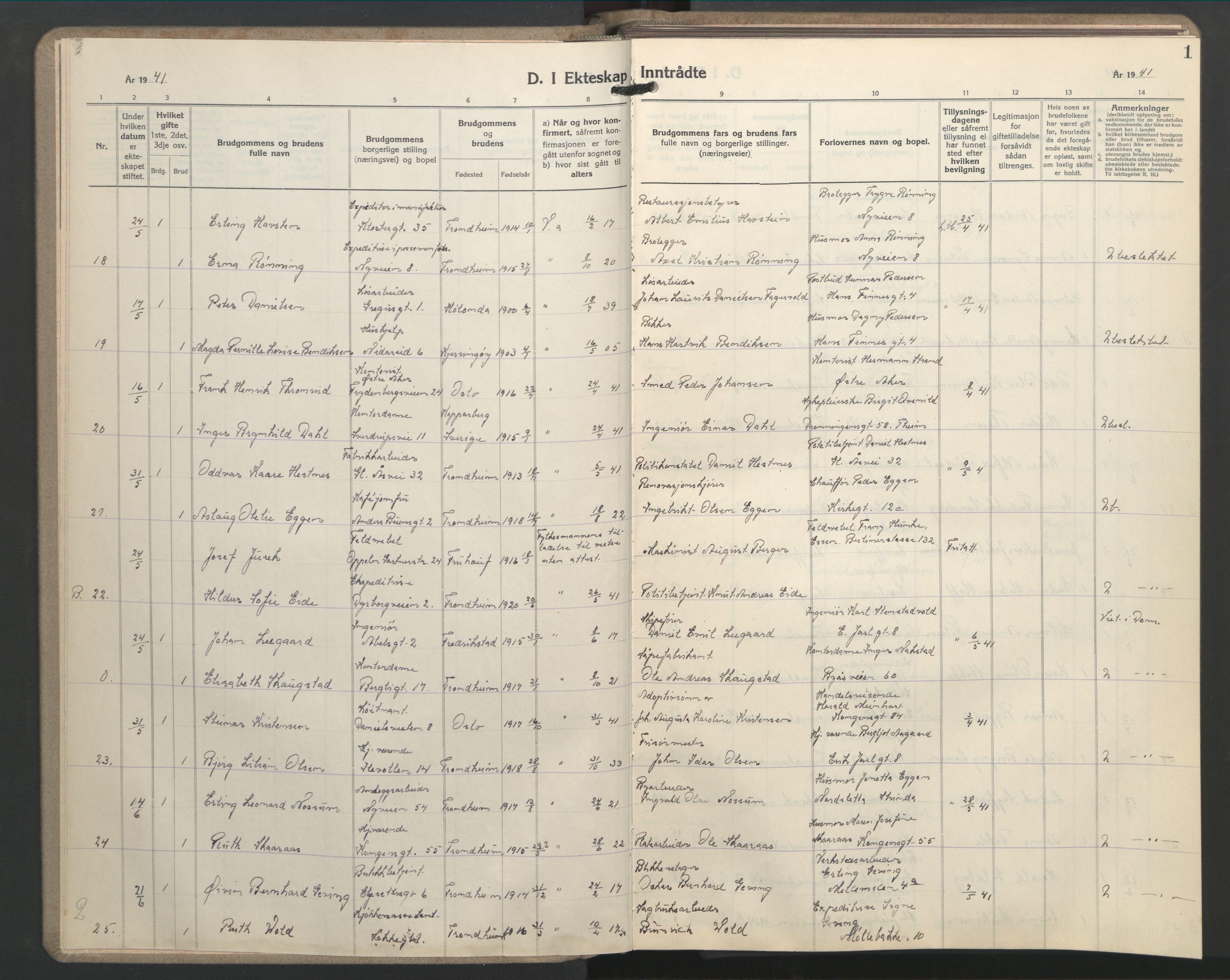 SAT, Ministerialprotokoller, klokkerbøker og fødselsregistre - Sør-Trøndelag, 603/L0177: Klokkerbok nr. 603C05, 1941-1952, s. 1