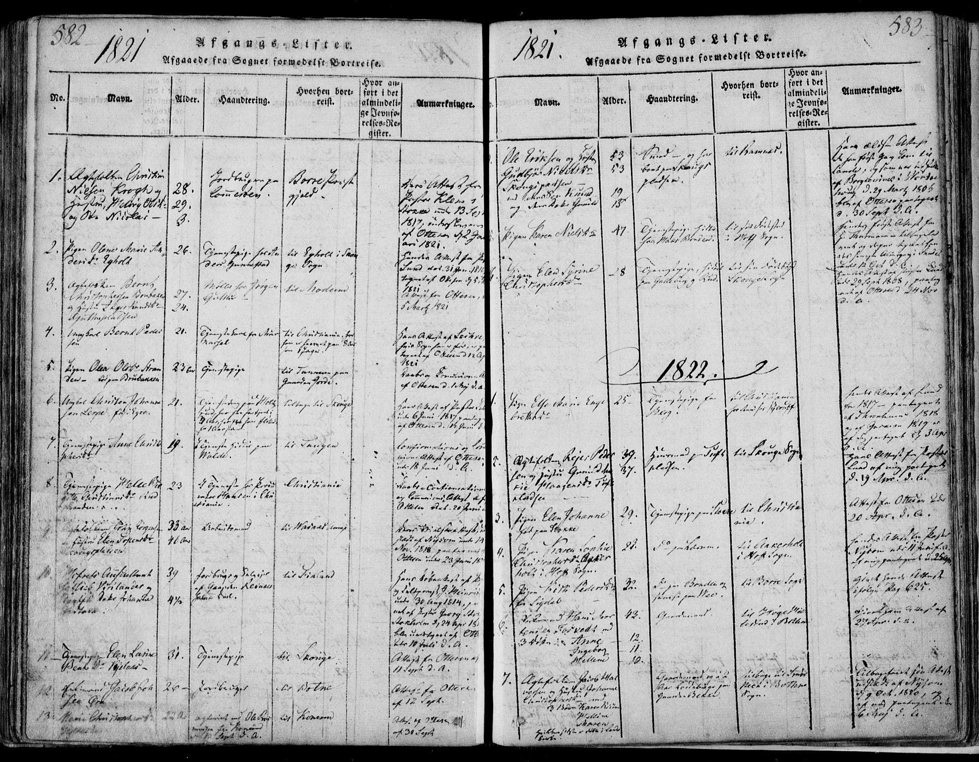 SAKO, Sande Kirkebøker, F/Fa/L0003: Ministerialbok nr. 3, 1814-1847, s. 582-583