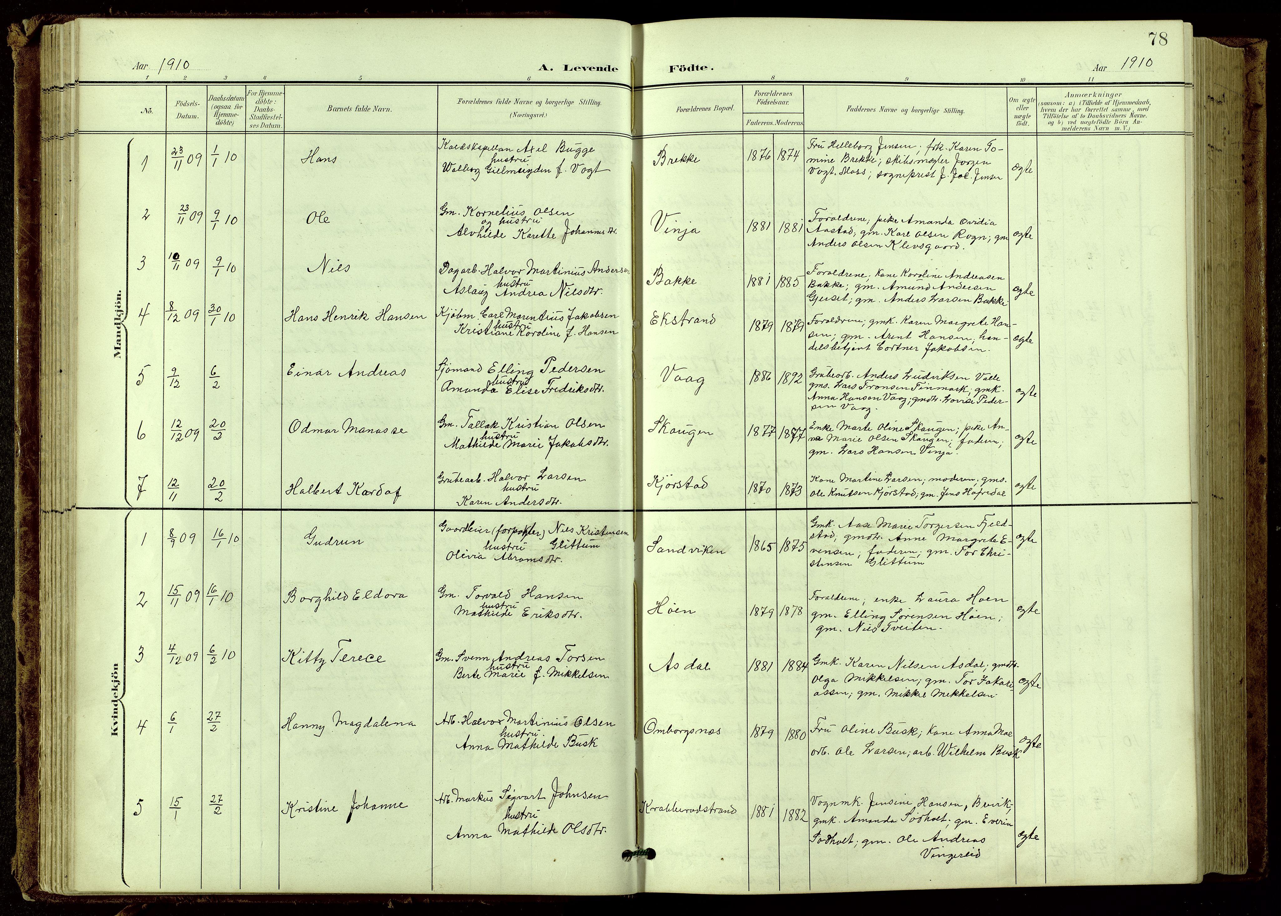 SAKO, Bamble kirkebøker, G/Ga/L0010: Klokkerbok nr. I 10, 1901-1919, s. 78