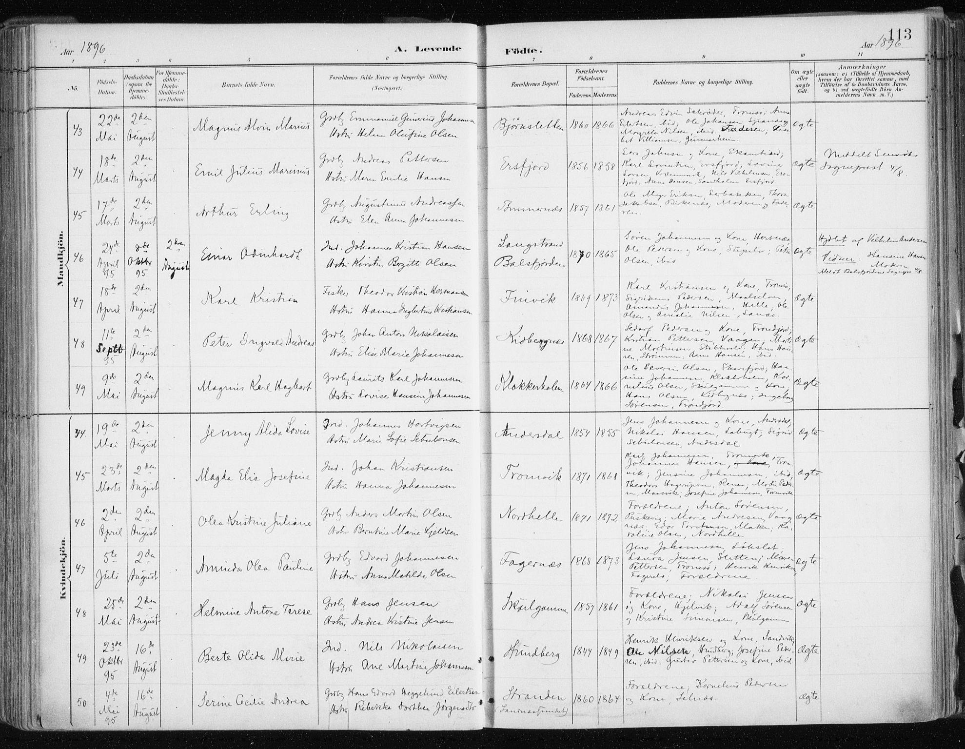 SATØ, Tromsøysund sokneprestkontor, G/Ga/L0005kirke: Ministerialbok nr. 5, 1888-1896, s. 113