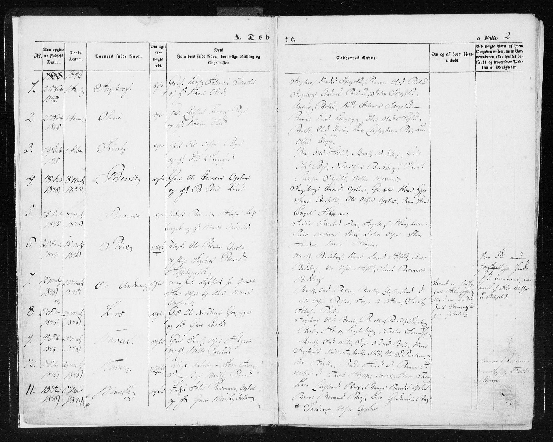 SAT, Ministerialprotokoller, klokkerbøker og fødselsregistre - Sør-Trøndelag, 612/L0376: Ministerialbok nr. 612A08, 1846-1859, s. 2
