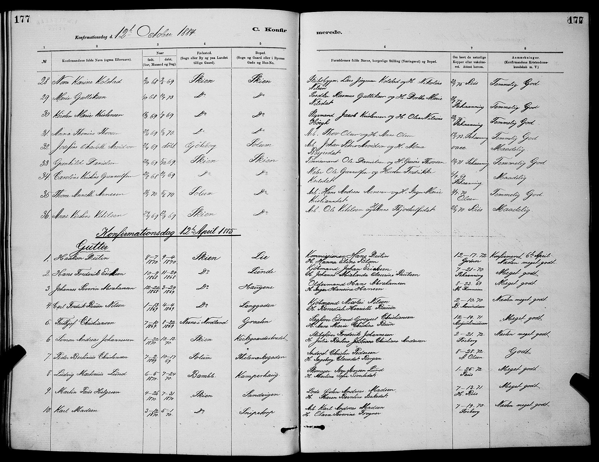 SAKO, Skien kirkebøker, G/Ga/L0006: Klokkerbok nr. 6, 1881-1890, s. 177