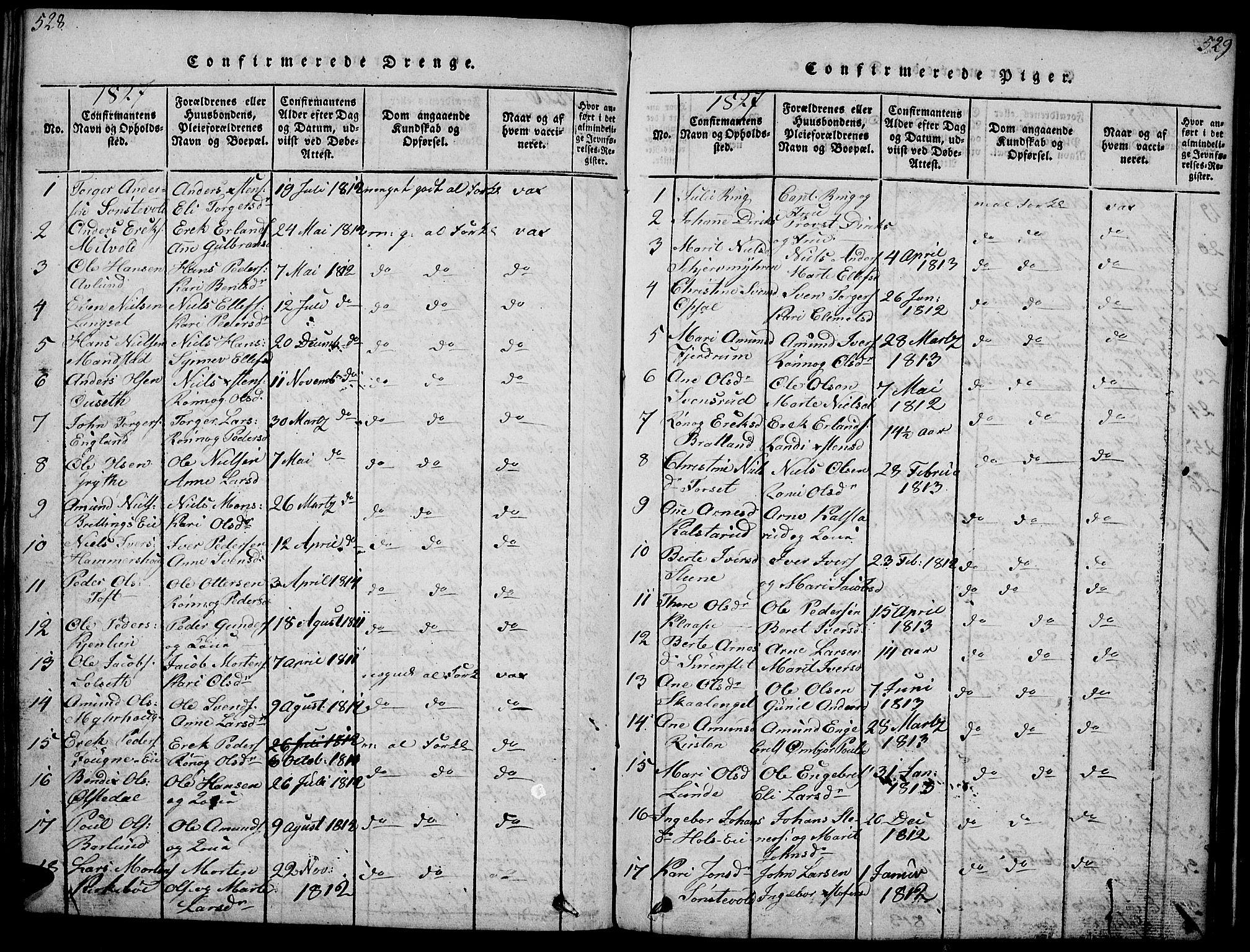 SAH, Gausdal prestekontor, Ministerialbok nr. 5, 1817-1829, s. 528-529