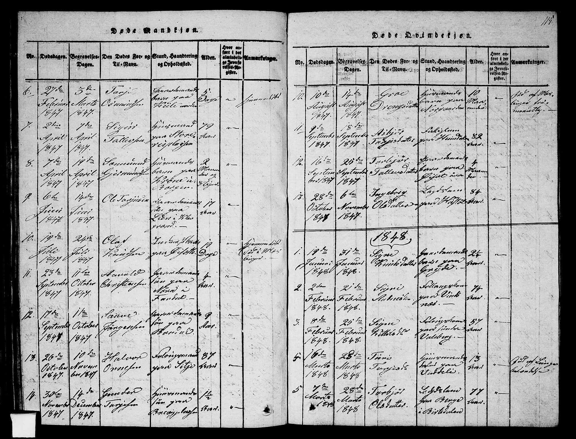 SAKO, Fyresdal kirkebøker, G/Ga/L0002: Klokkerbok nr. I 2, 1815-1857, s. 115