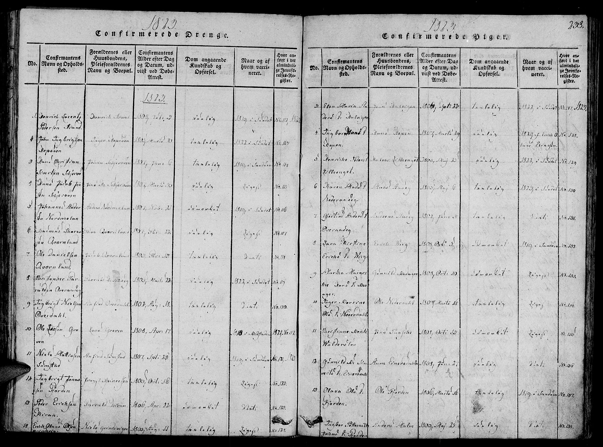SAT, Ministerialprotokoller, klokkerbøker og fødselsregistre - Sør-Trøndelag, 657/L0702: Ministerialbok nr. 657A03, 1818-1831, s. 238