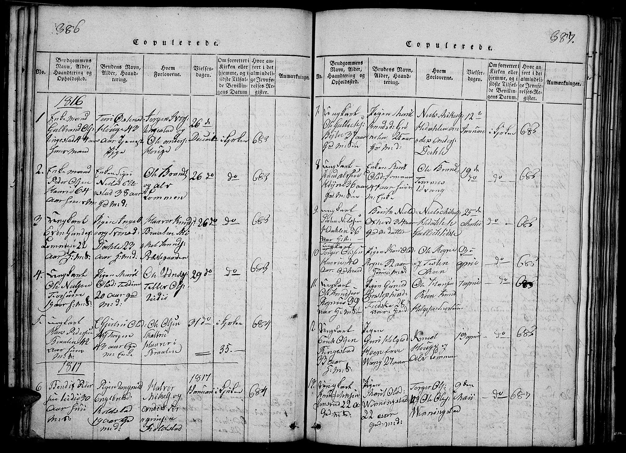 SAH, Slidre prestekontor, Ministerialbok nr. 2, 1814-1830, s. 386-387